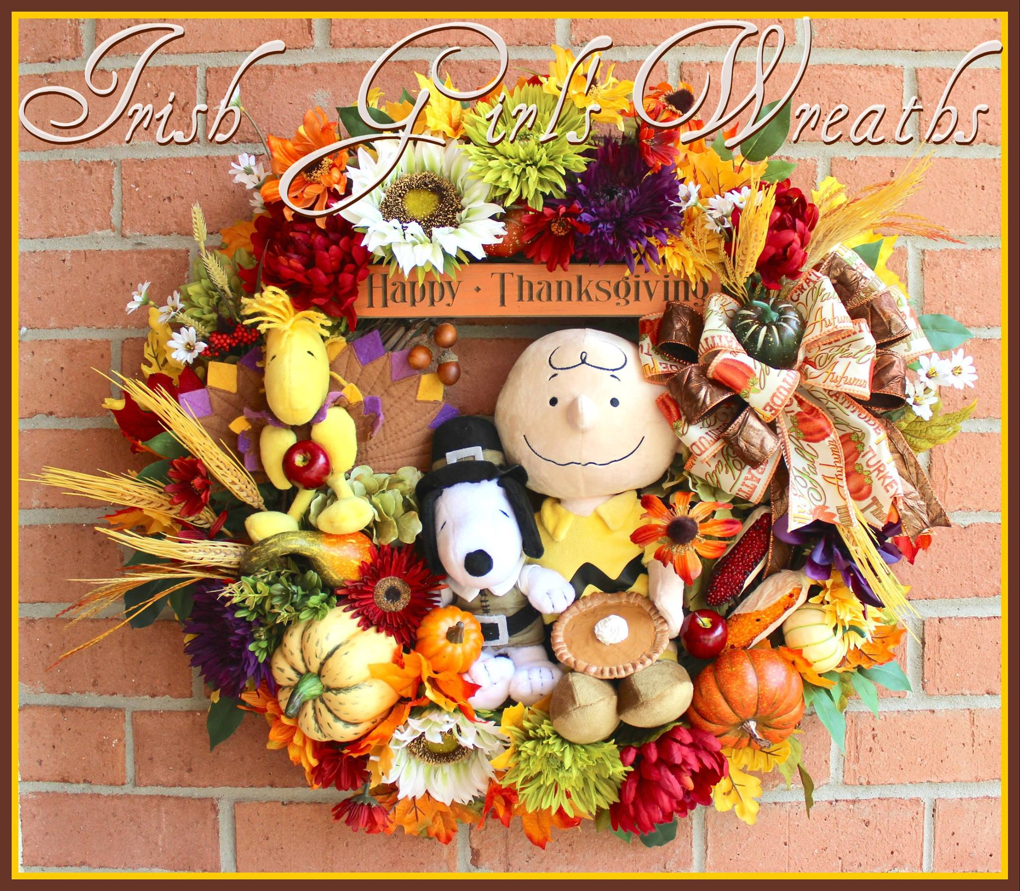Peanuts Thanksgiving Charlie Brown Wreath for Angela