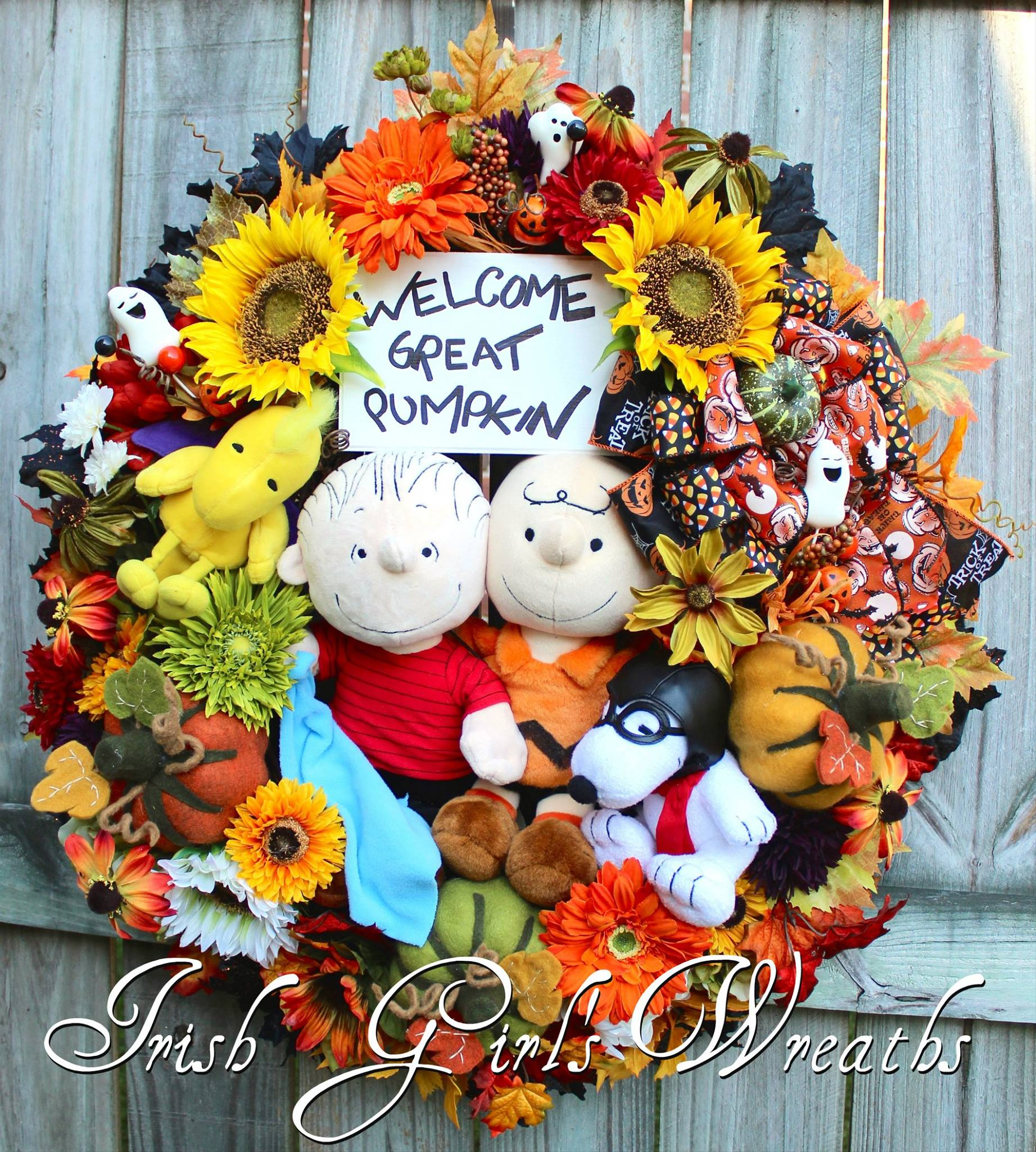 Welcome Great Pumpkin Halloween Wreath, Custom
