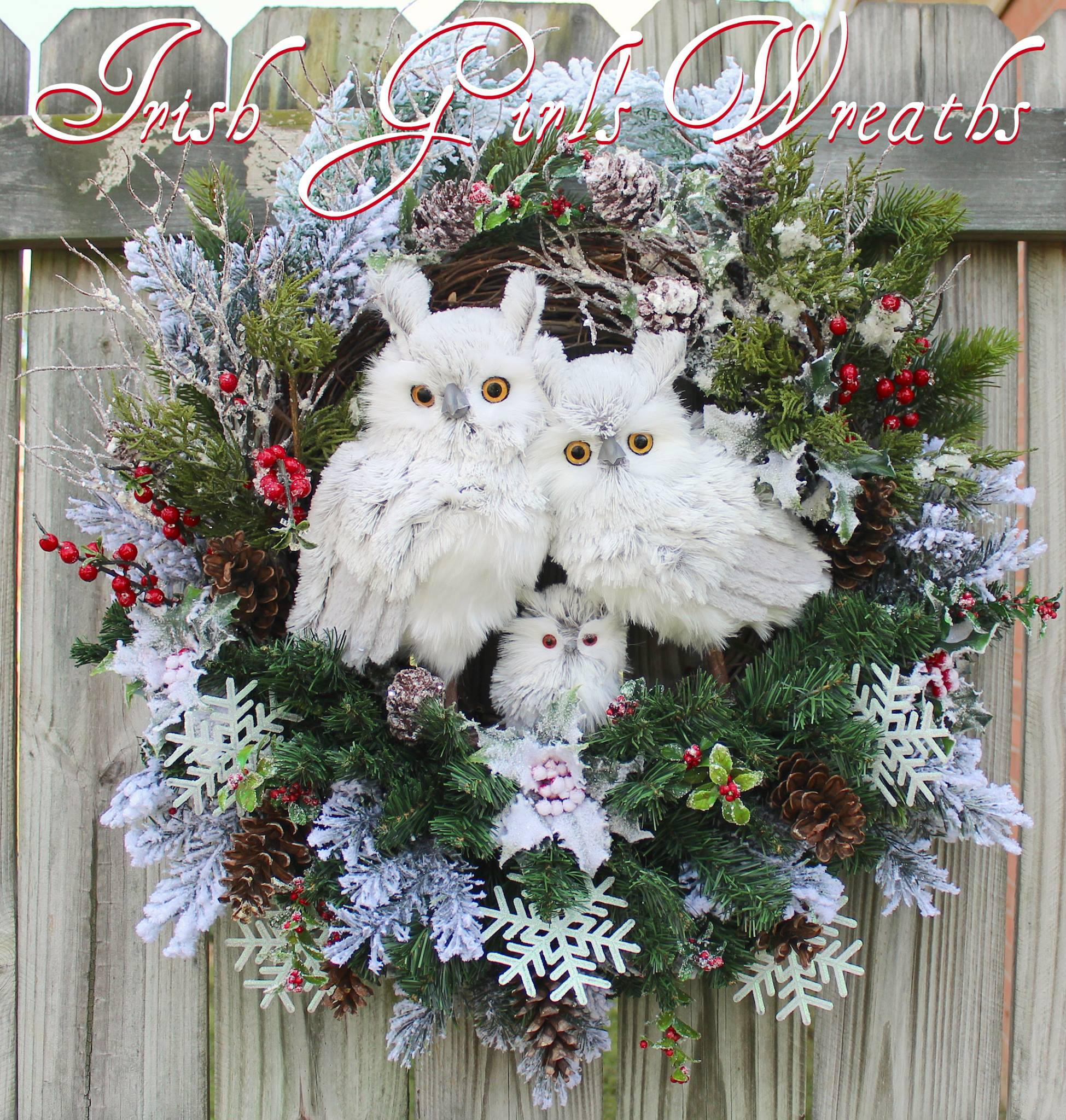 Deluxe Rustic Woodland Gray Winter Owl Family Wreath, Custom