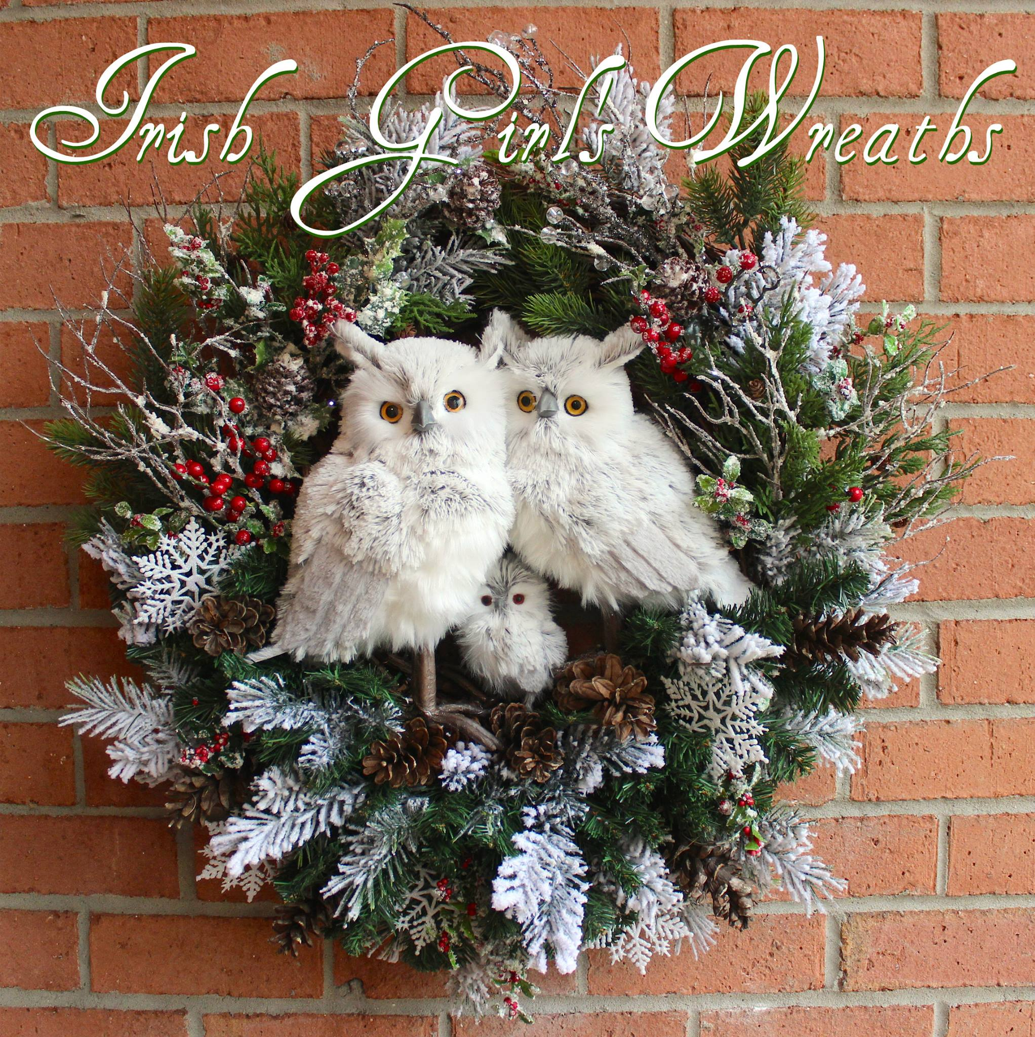 Deluxe Gray Winter Owl Family Wreath, Custom for Joan