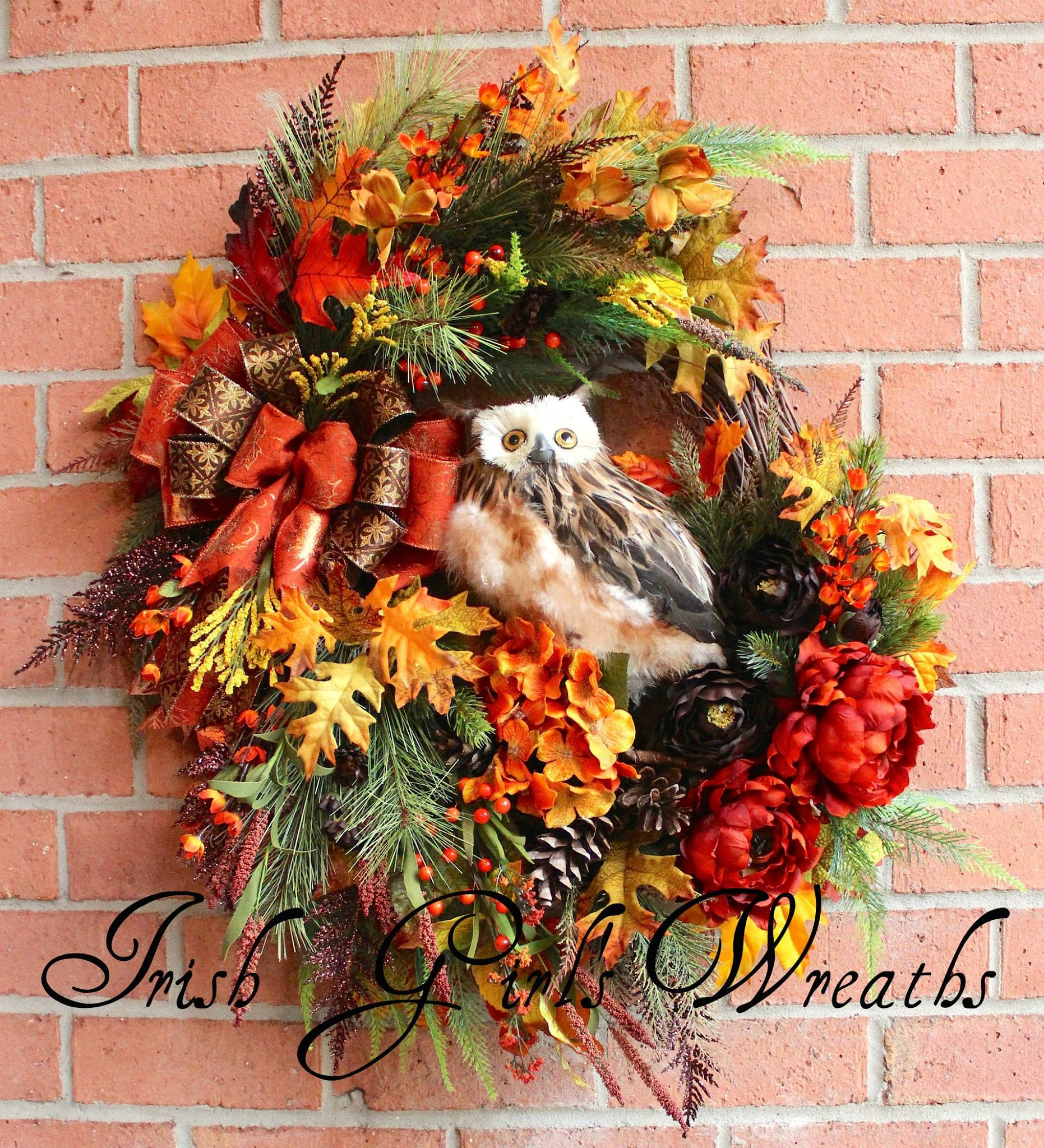 Deluxe Rustic Fall Woodland Owl Wreath, Custom for Patricia
