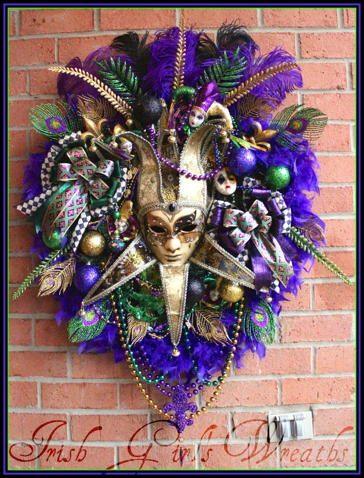 EXTRA Large Black Purple Green Gold Mardi Gras Venetian Jester Mask Wreath, feather boa, ostrich plumes, beads, HUGE, masquerade, harlequin