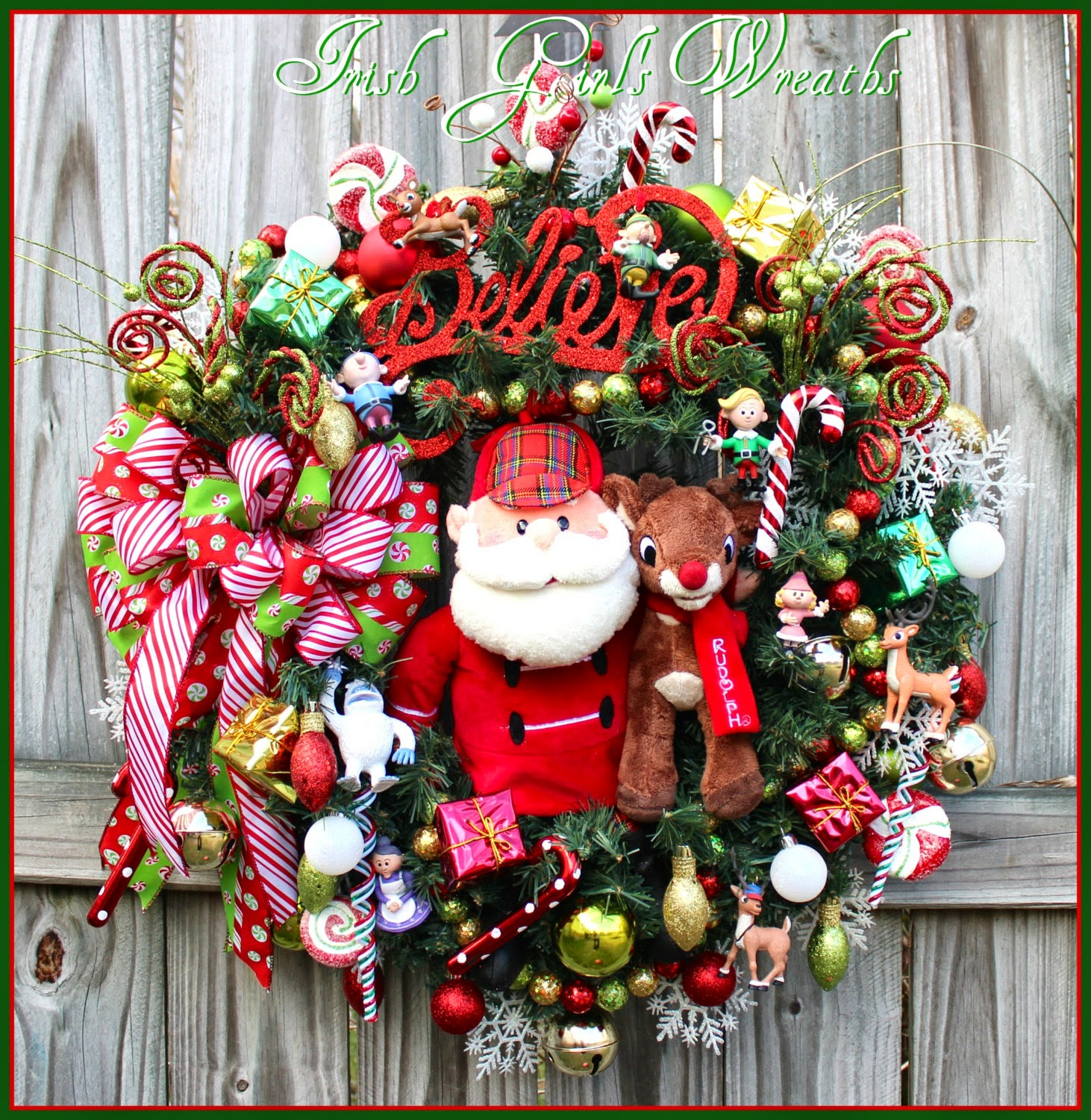 Large Believe Santa and Rudolph Christmas Wreath