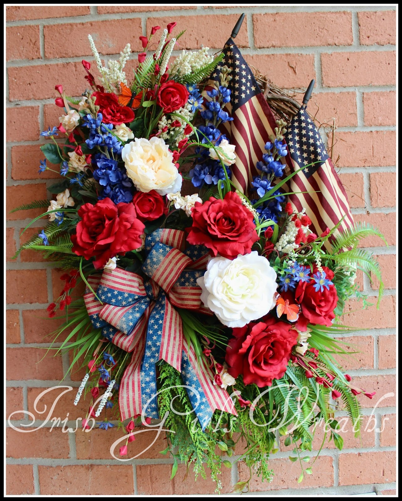 XL Rustic Americana Patriotic Summer Rose Garden Wreath, Large, tea stained Flag, 4th July, Memorial Day
