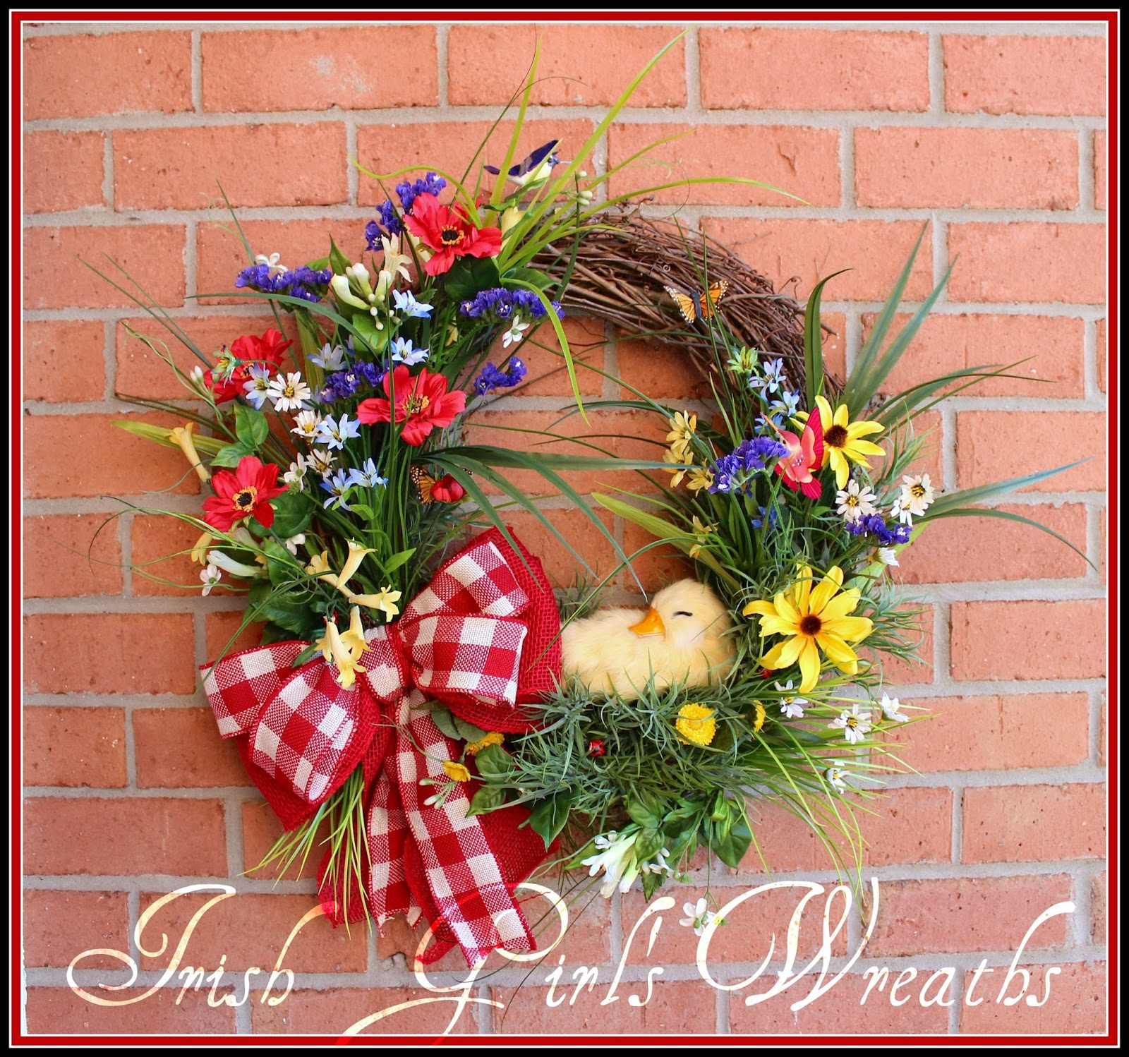 Spring by the Lake Duckling Wreath, Summer, gingham, rustic, country
