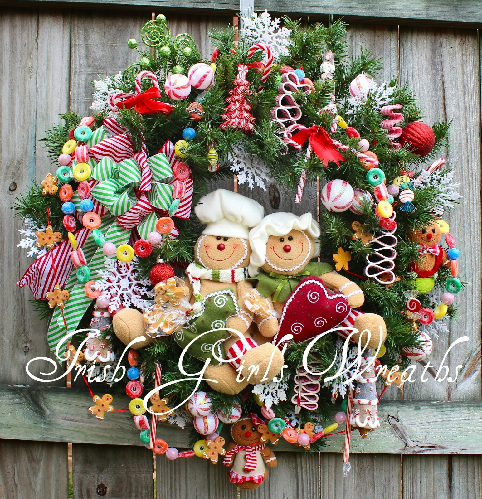 XXL Gingerbread Family Christmas Wreath, Candy, peppermint, Extra Large