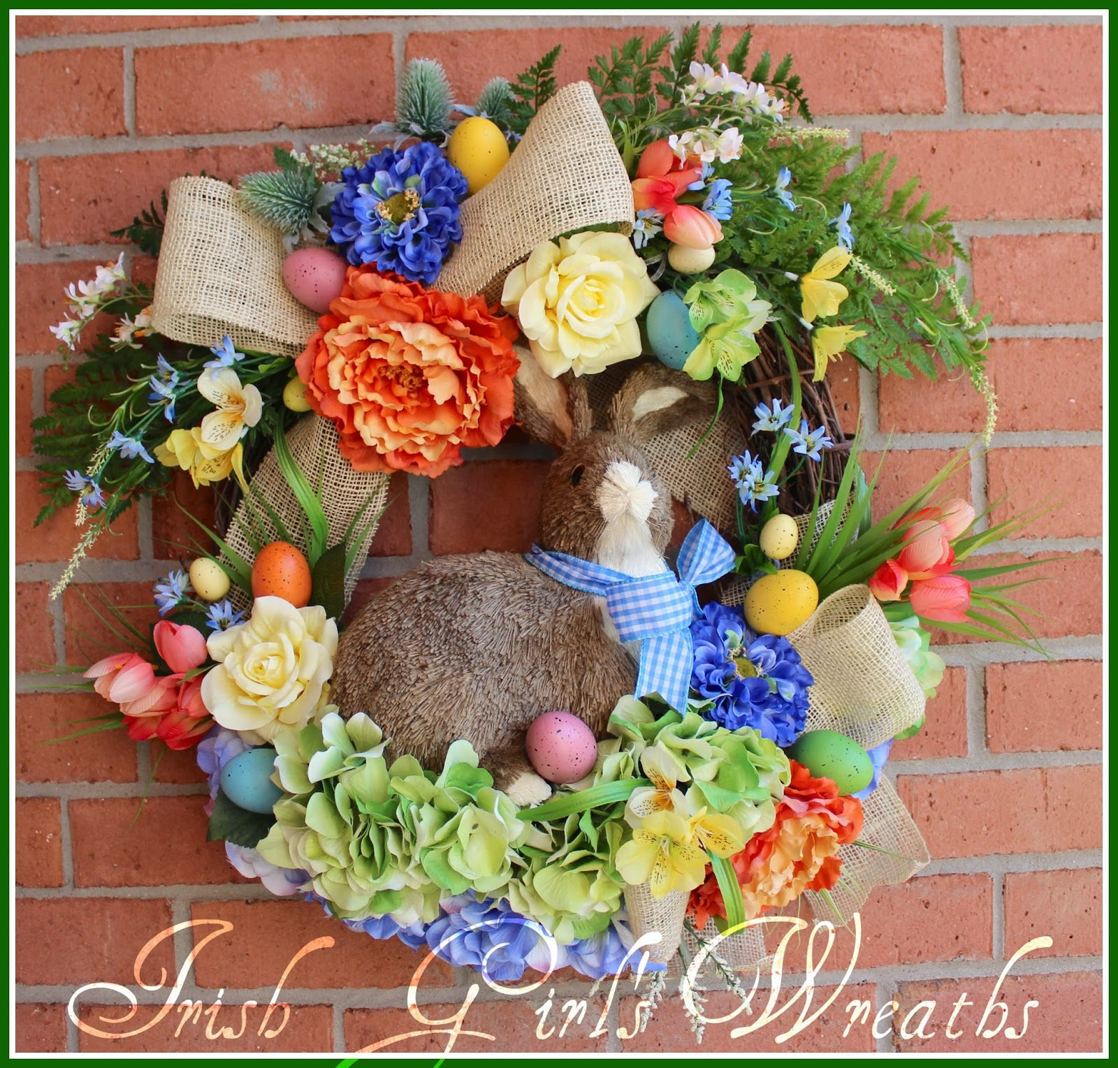 Large Coral Blue Yellow Spring Easter Bunny Rabbit Wreath, Jute, Tulip, Dahlia, Peony, Burlap, Easter egg, rustic, cottage, Garden