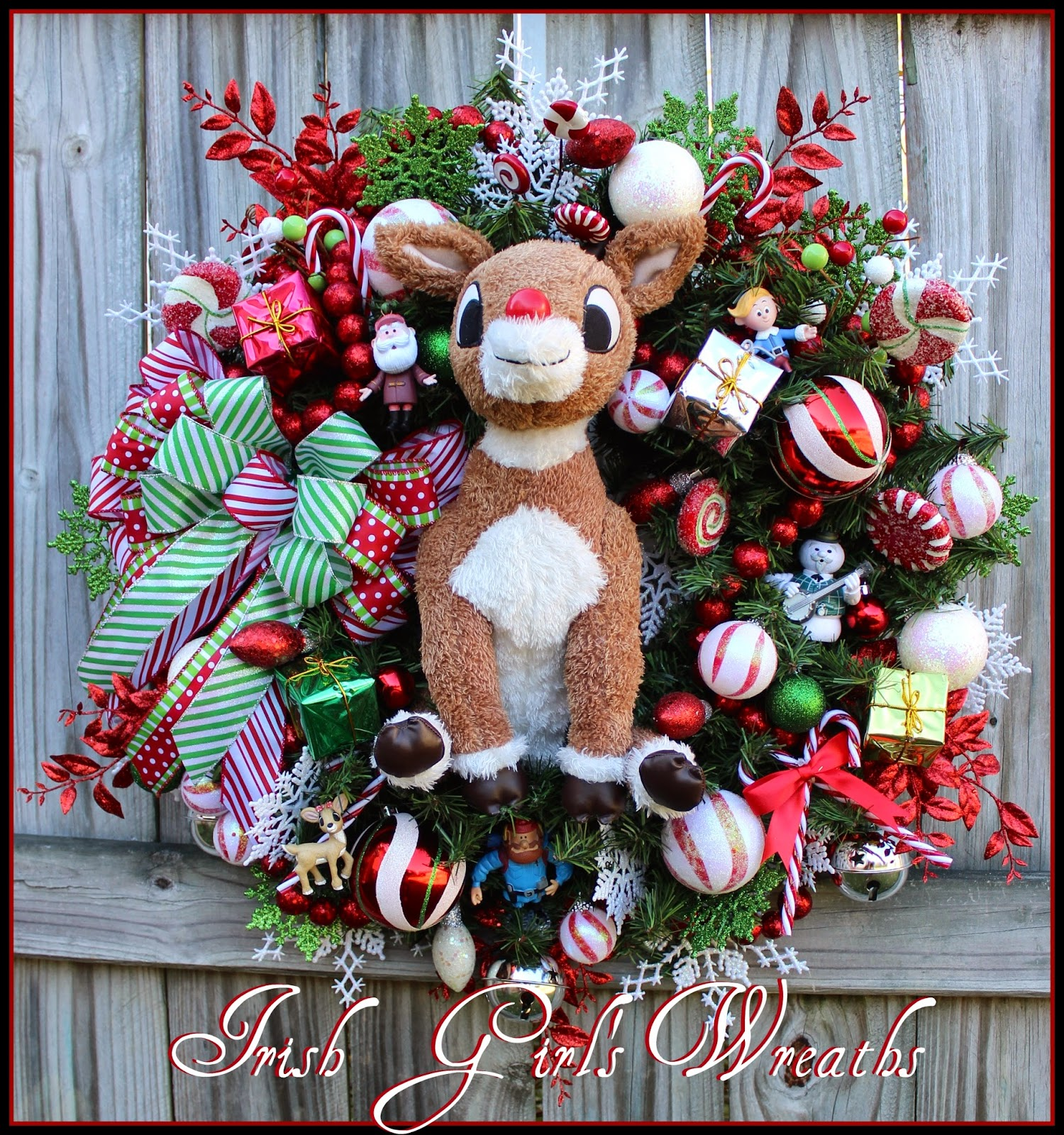Custom Rudolph the Red Nosed Reindeer Wreath