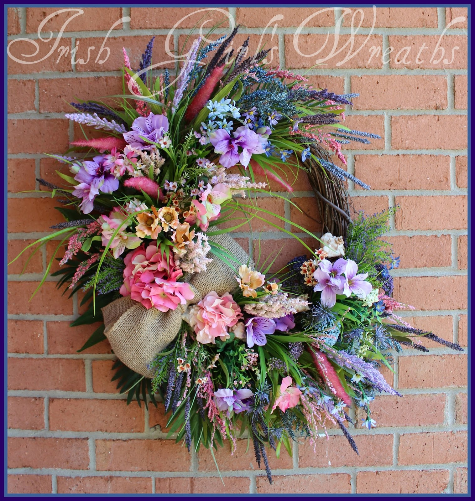 Large Pink Beach Sunrise Coastal Wreath, XL, Purple, Lavender, blue, Sea Shells, Rustic, Summer