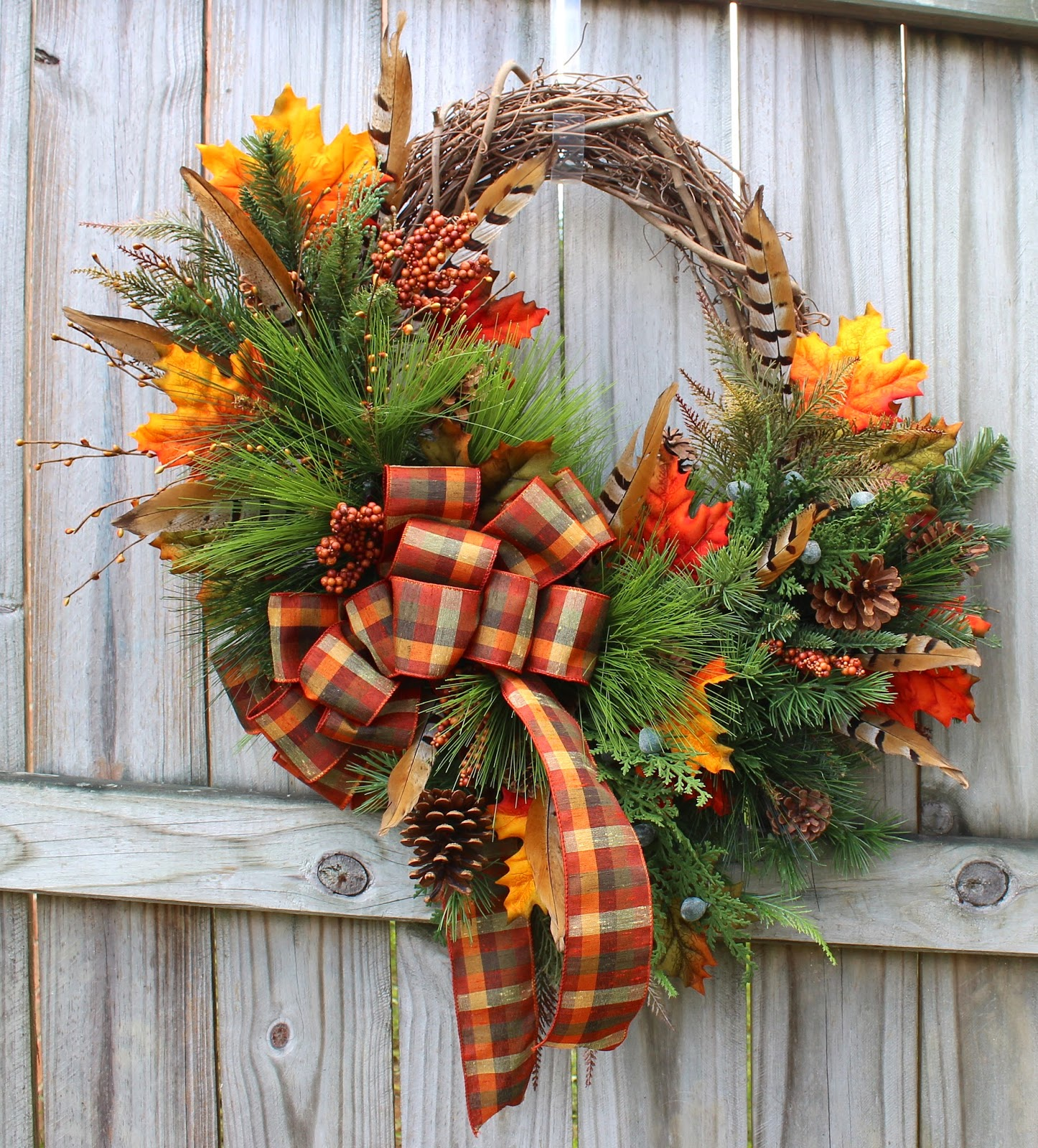 Rustic Woodland Cabin Fall Wreath, natural golden pheasant tail feather, harvest plaid tartan ribbon
