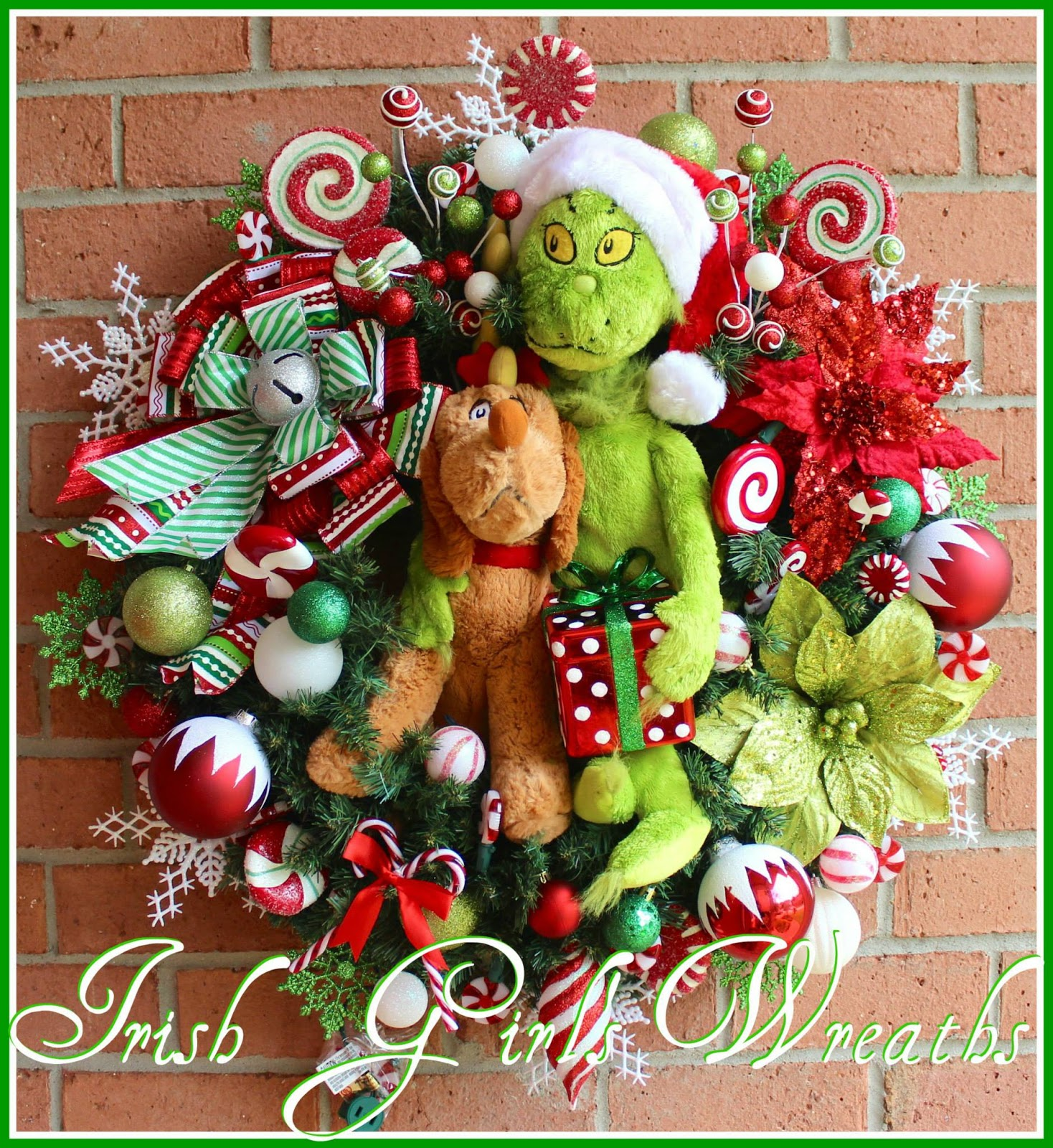 Grinch and Reindeer Dog Max Christmas Wreath, Custom Order for Amy