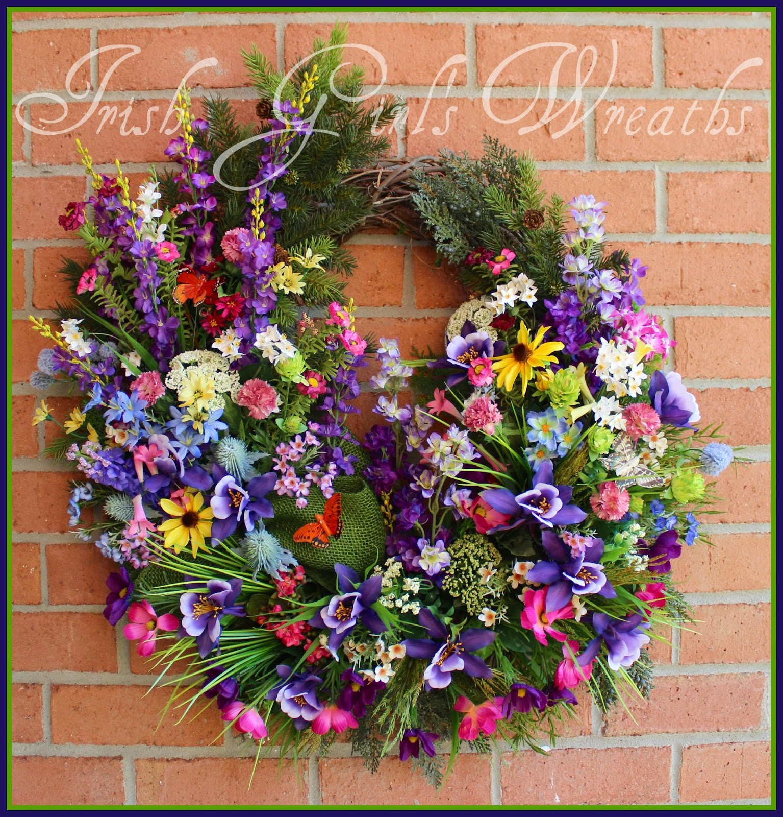 Large Colorado Columbine Rocky Mountain Wildflower Wreath, Purple, Summer, Pink, Blue, Rustic, Lupine, Larkspur, Woodland
