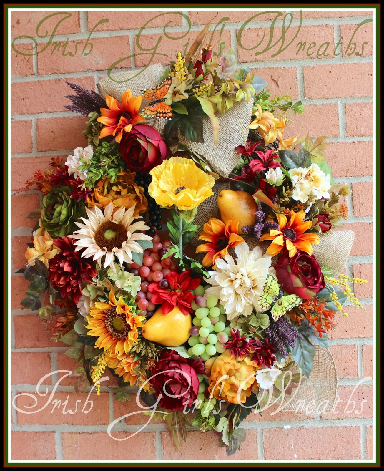 Red, Ivory and Gold XL Tuscan Sunflower Wreath, Poppy, Grapes, Pears, Kitchen, Rose, Peony, Large, Rustic, Summer, Fall