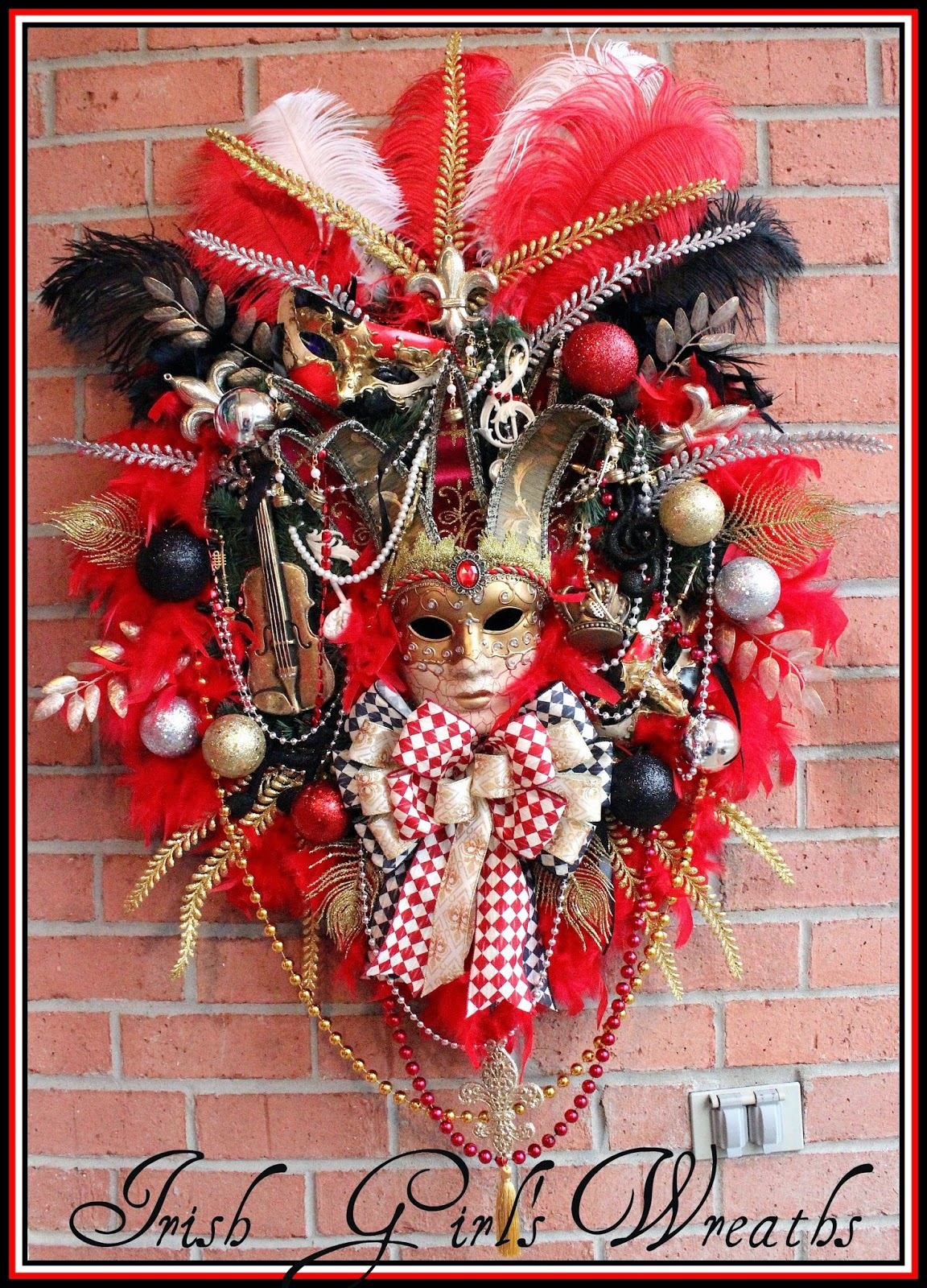 EXTRA Large Red Mardi Gras Venetian Jester Mask Wreath, Violin, Ostrich Plumes, feather boa, music, fleur de Lis, Masquerade, New Orleans
