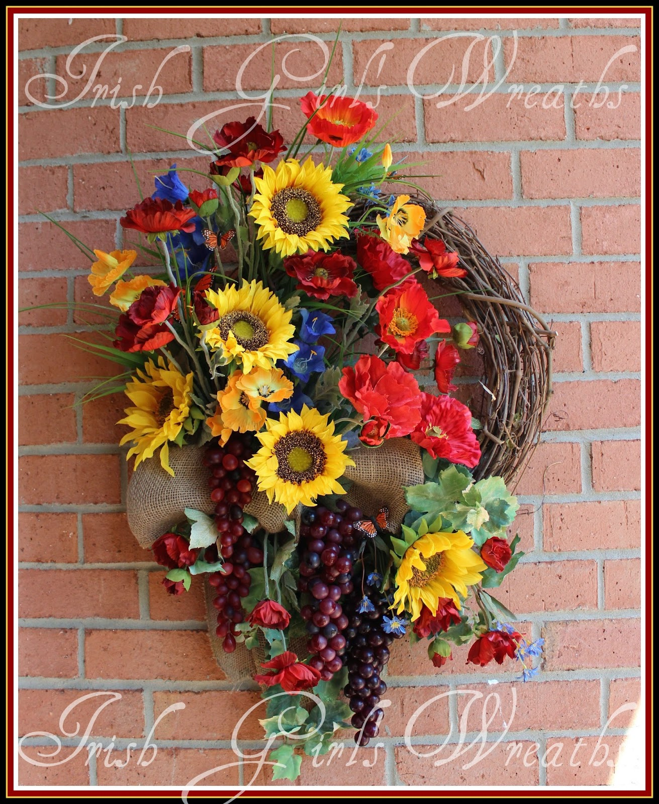 XL Rustic Garden Of Italy Poppy and Sunflower Wreath, Vineyard, Grapes, Large, Summer, Tuscan