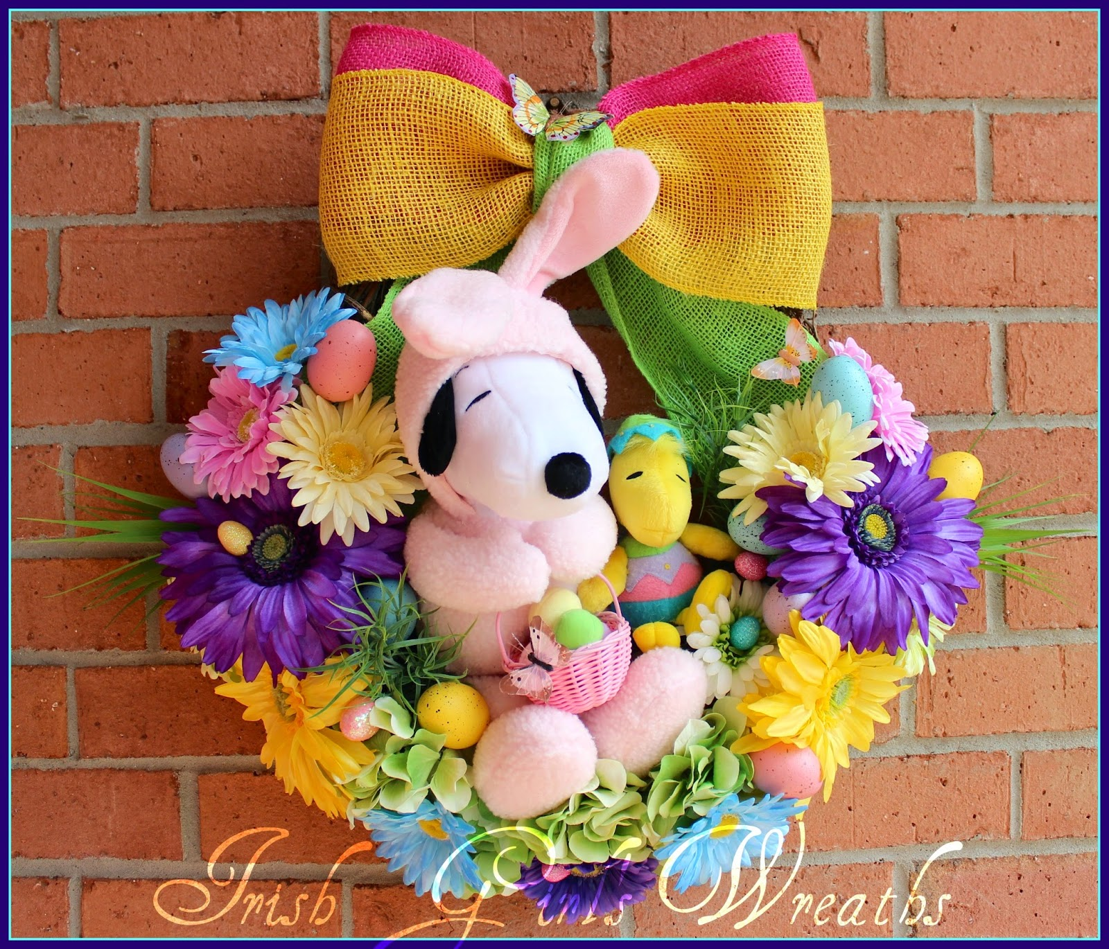 Pink and Yellow Easter Beagle Wreath, Snoopy, Woodstock, Peanuts