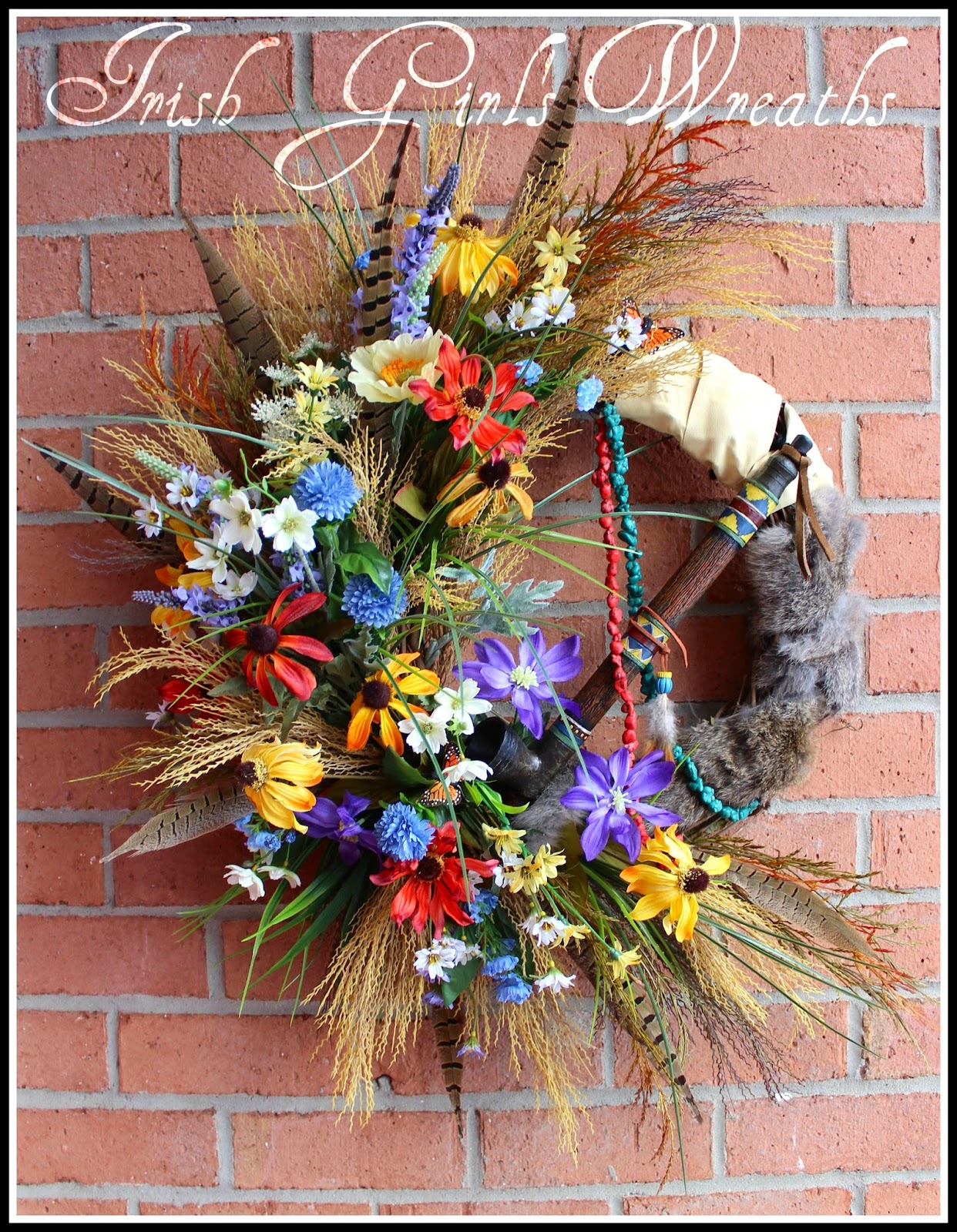 Great Plains Large Wildflower Native American Indian Wreath, Rustic, Pheasant feather, peace pipe