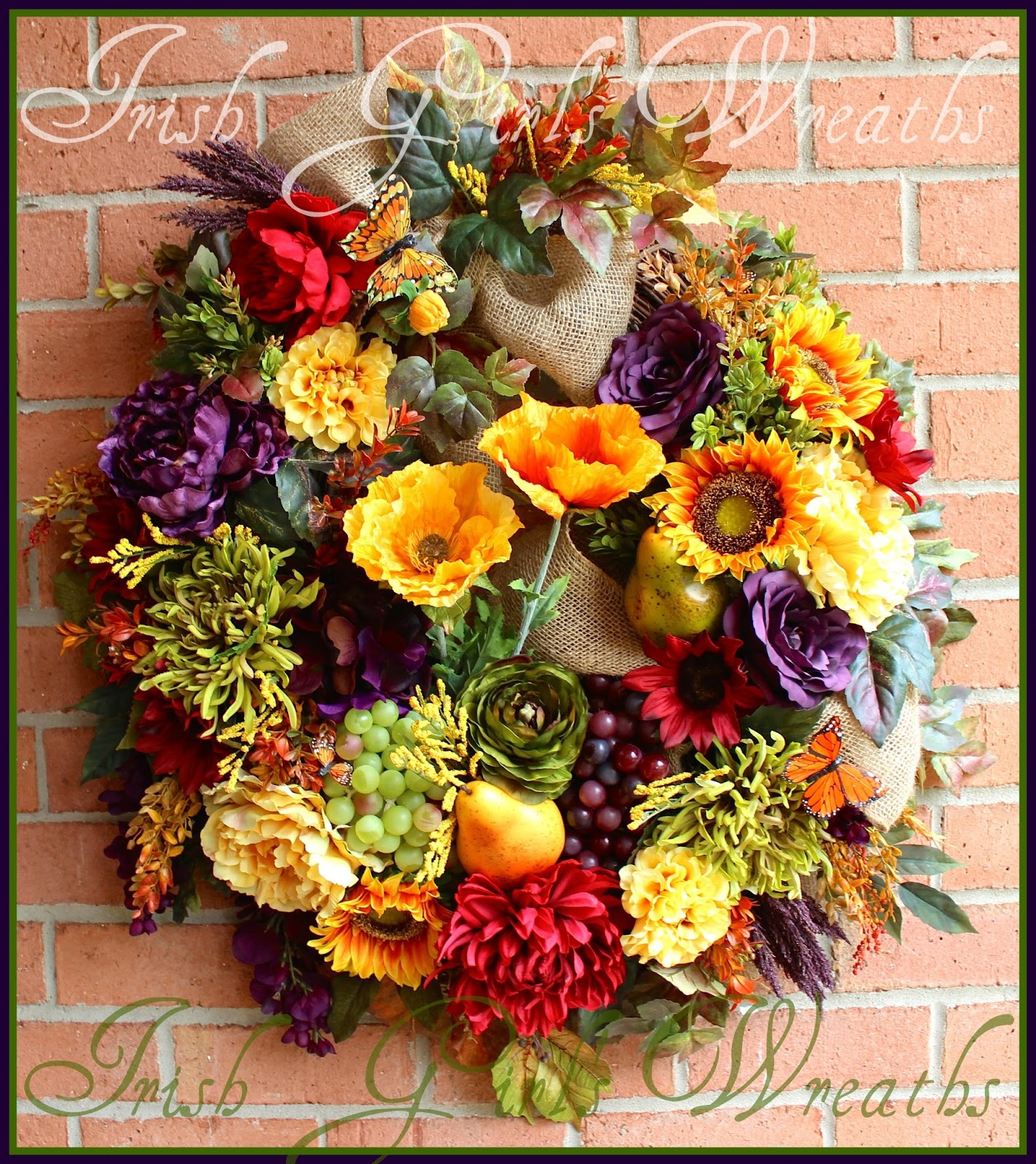Eggplant Purple, Red, rich butter yellow XL Tuscan Wreath, Poppy, Wisteria, Peony, Sunflower