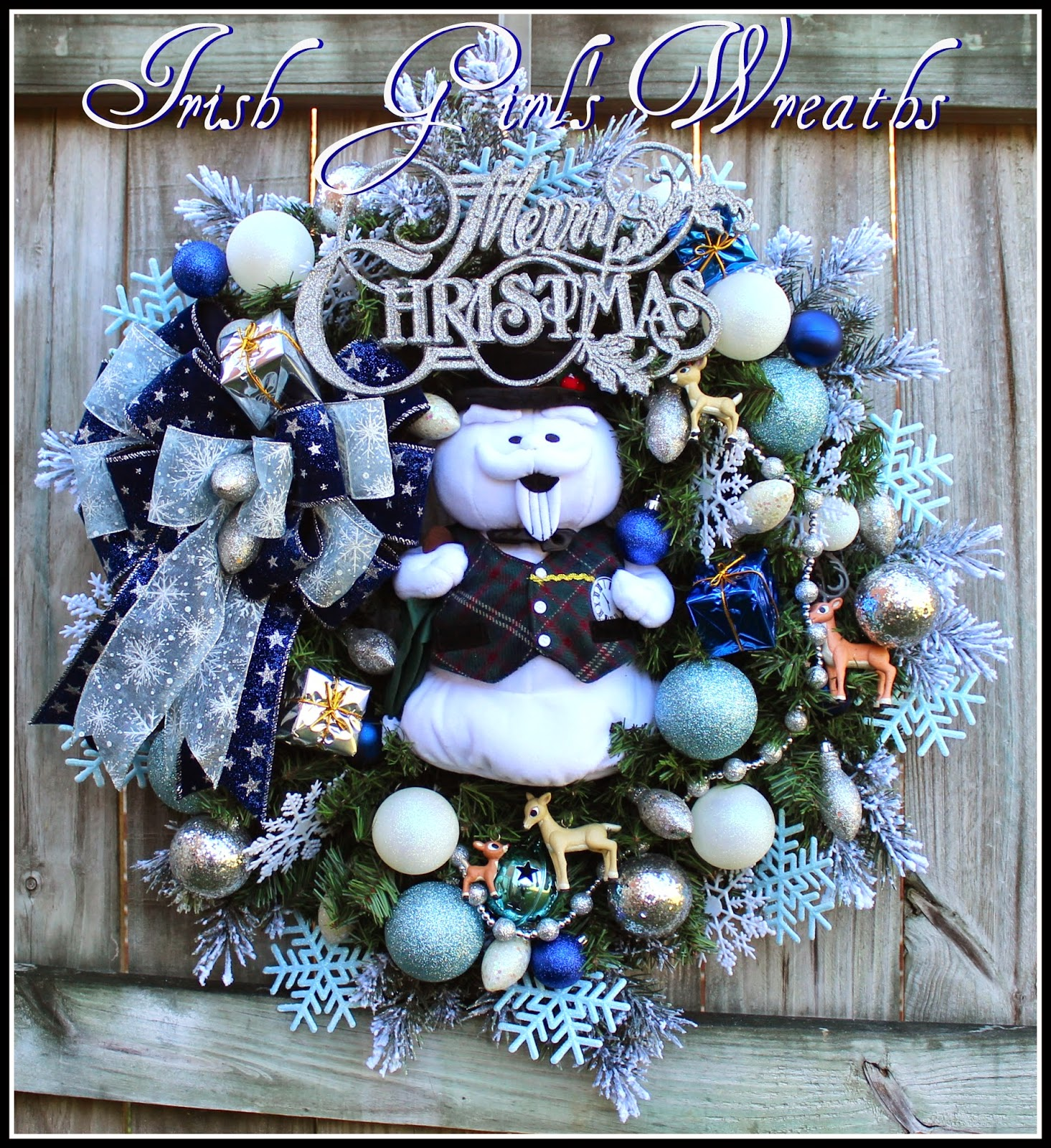 Sam the Snowman Rudolph Blue Silver Christmas Wreath