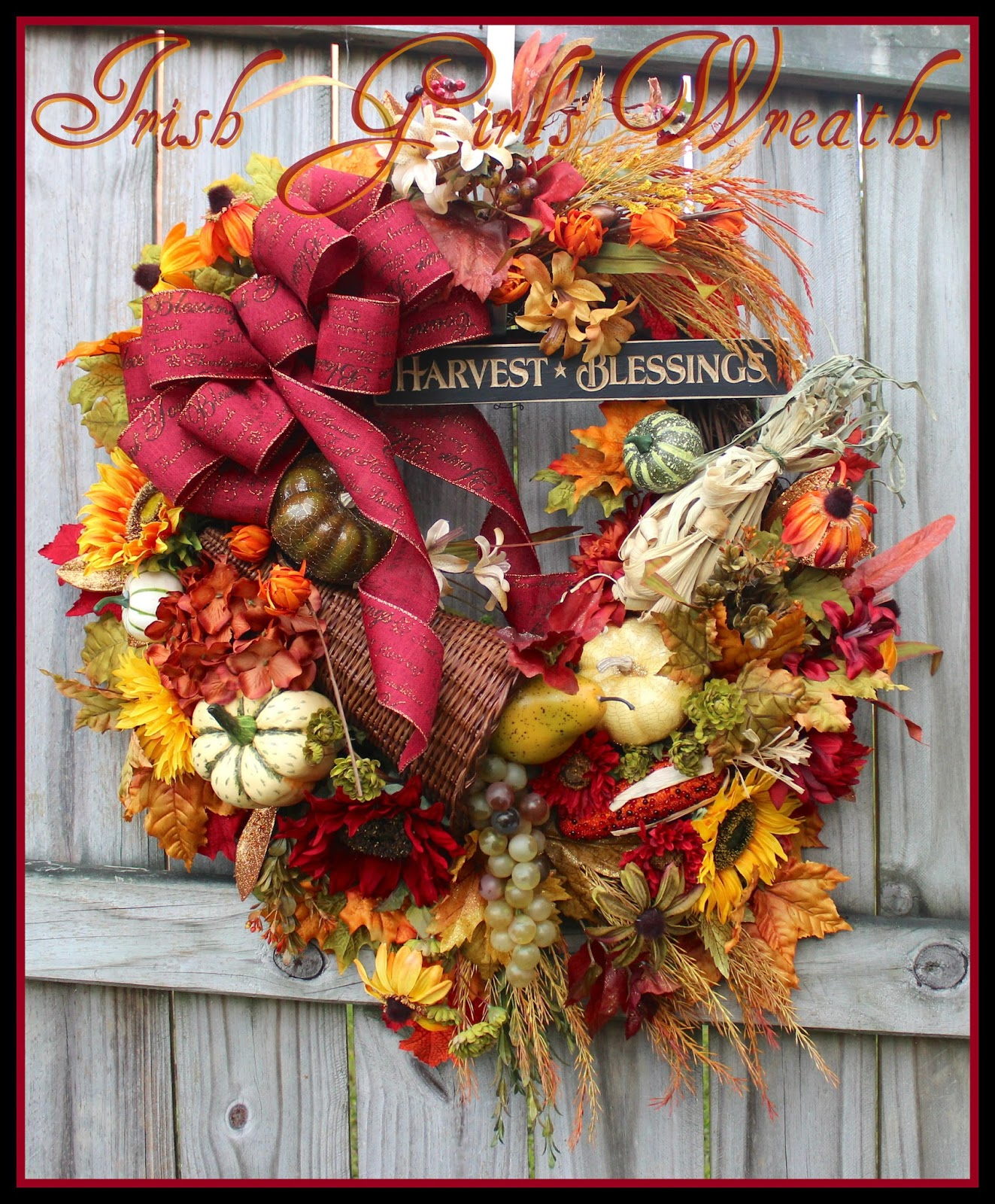Harvest Blessings Large Autumn Cornucopia Wreath, Thanksgiving, Fall, Grapes, Pumpkins, Sunflowers, red, wheat, Luxury