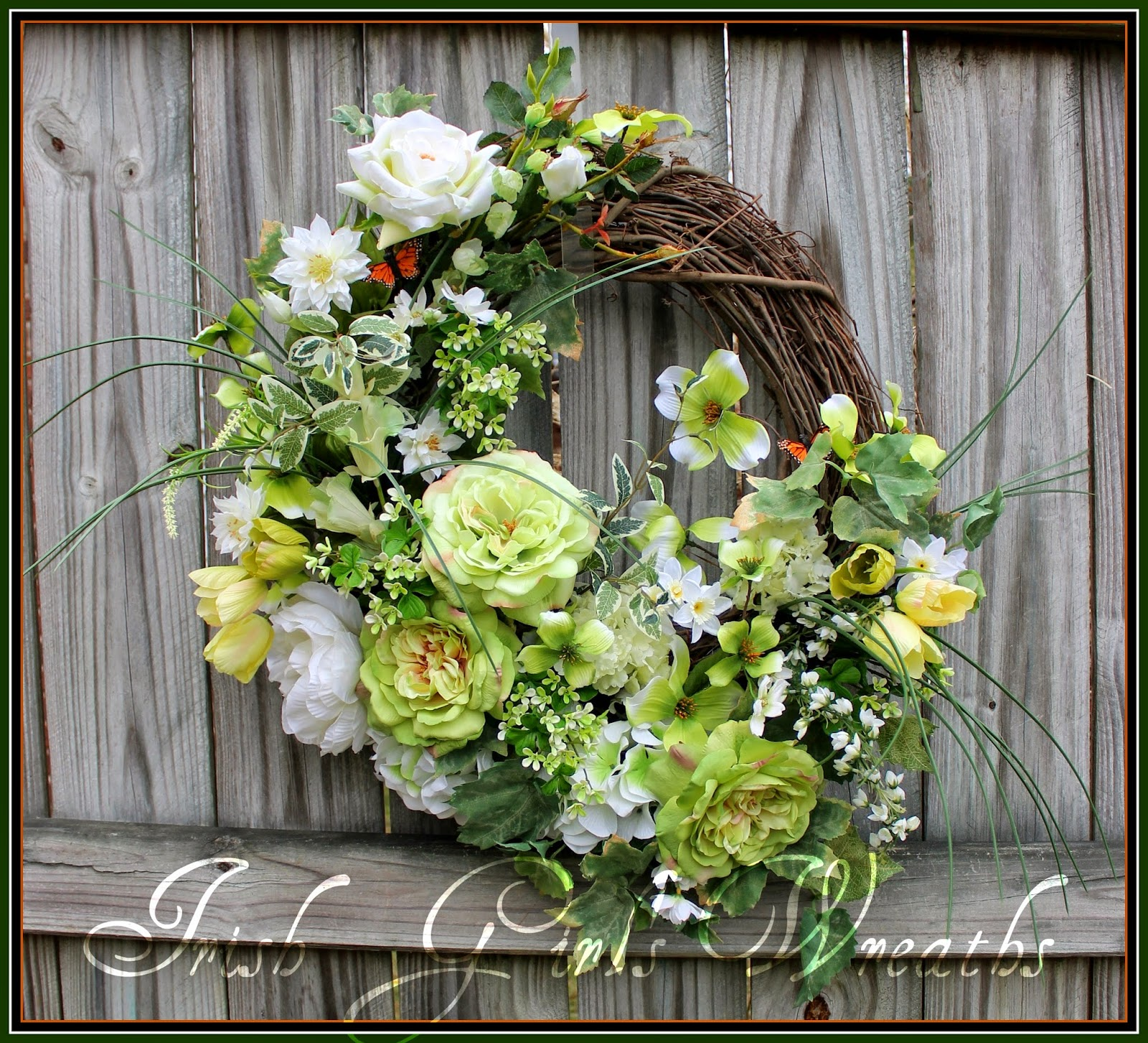 St Patricks Cottage Garden- featuring Sophia Roses, Clematis, dogwood, flowering Shamrocks, garden roses, bellflowers, peonies, Hydrangea, tulips, and MORE!