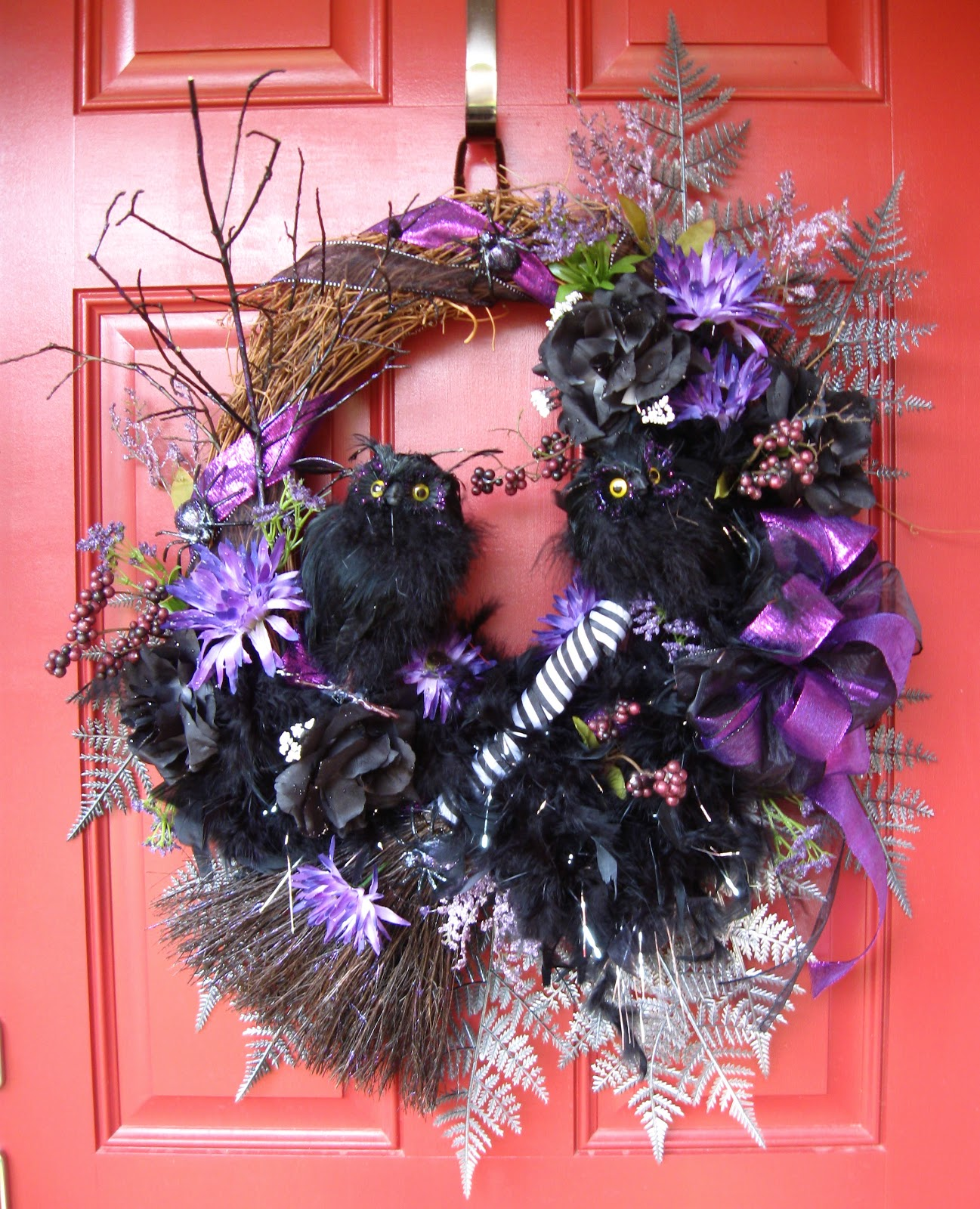 Two Owls in the Midnight Woods Halloween Wreath