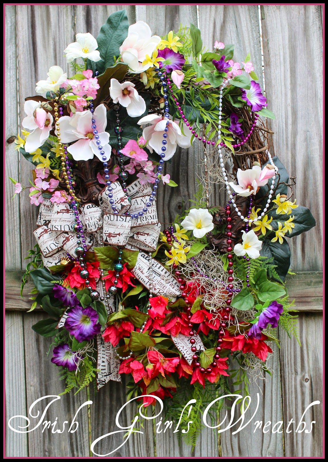 XXL New Orleans French Quarter Mardi Gras Wreath