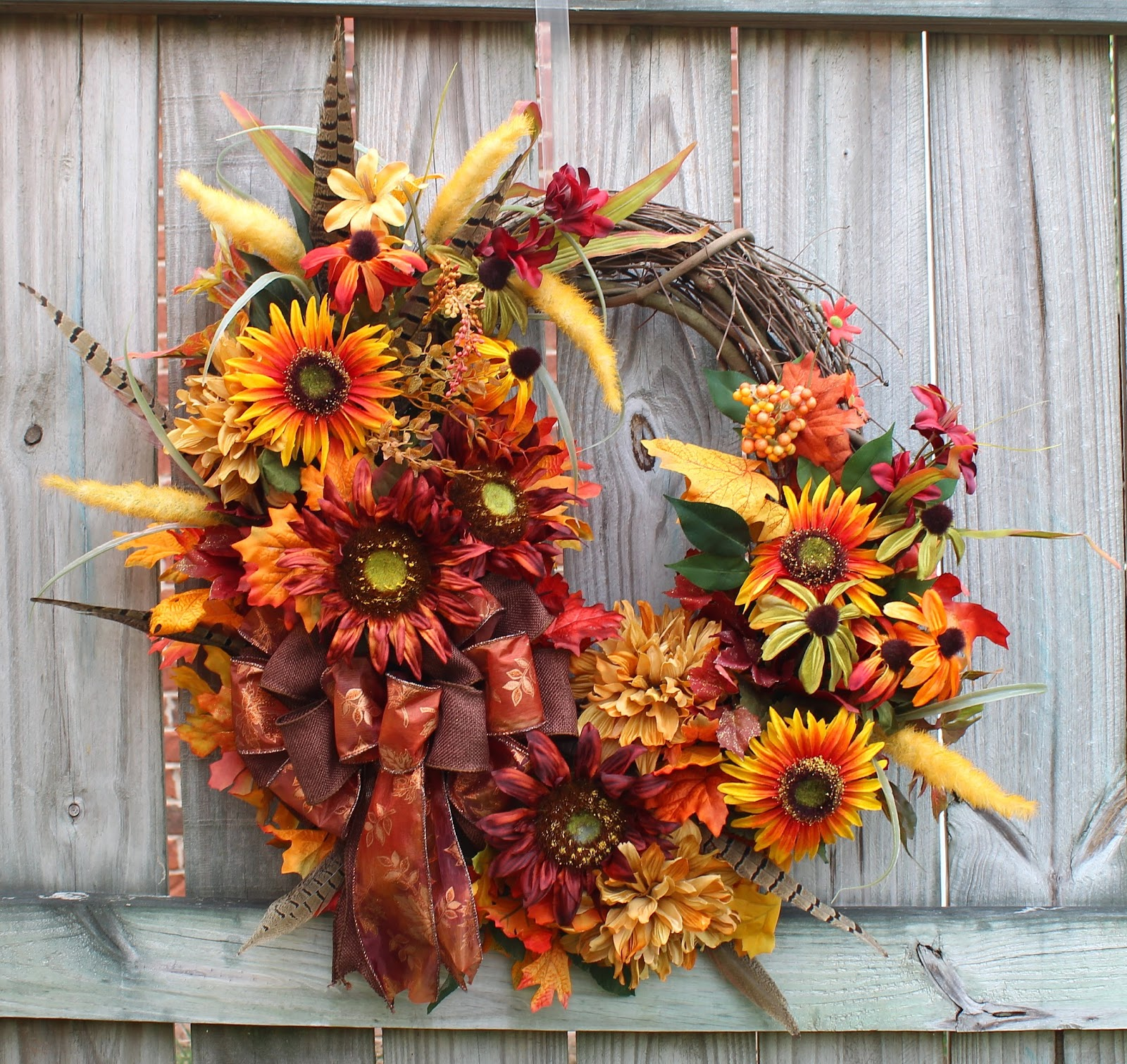 Fall Brown Sunflower Wreath with Indian Blanket Flowers