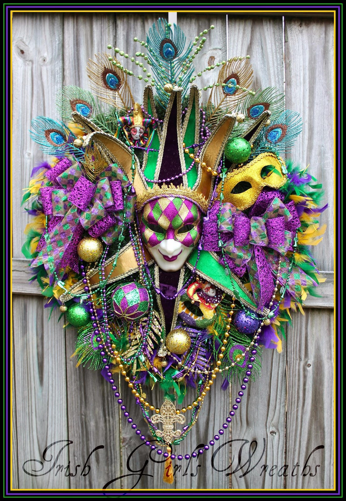 HUGE Harlequin Jester Mask Mardi Gras Carnival Wreath