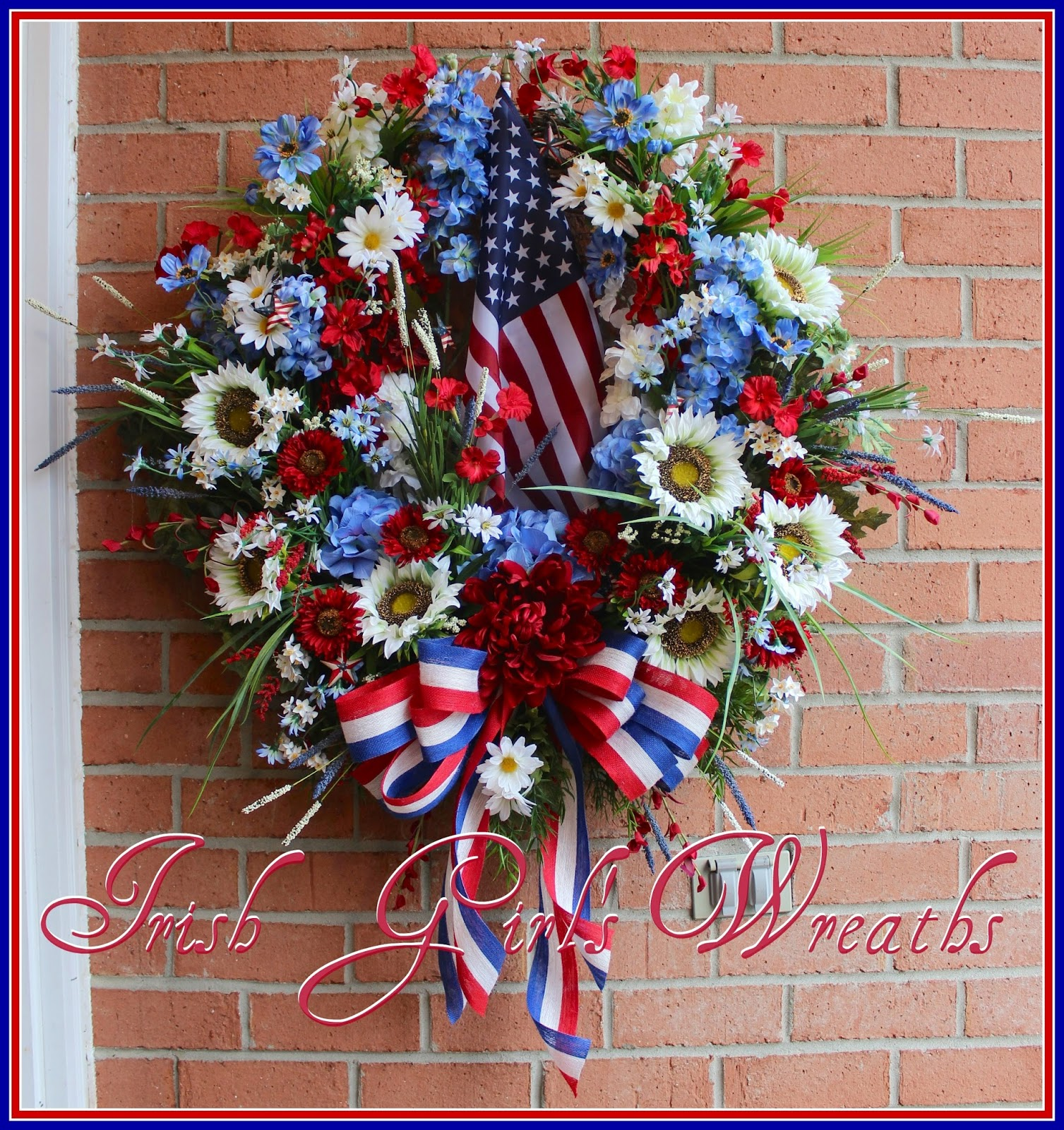 Custom Order XX-Large Patriotic White Sunflower Wreath, Memorial Day, 4th of July, Military Family Support, Veteran's Day