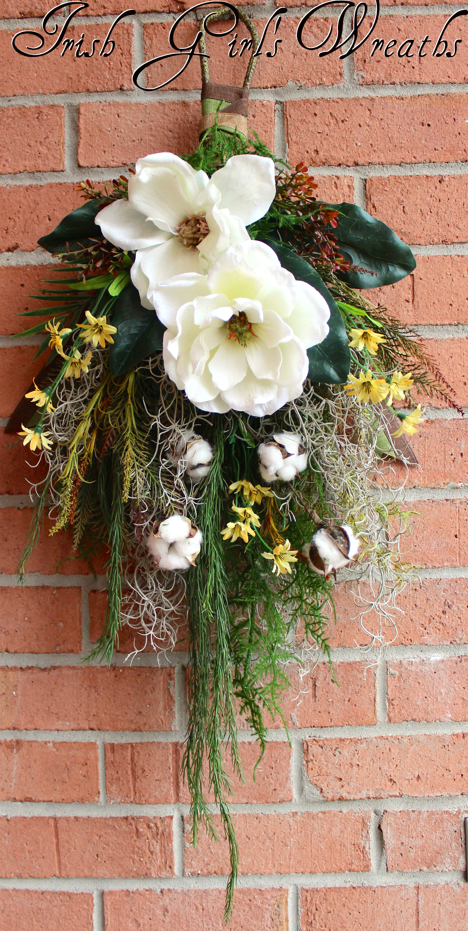 Bayou Floral Wall Hanging Swag Wreath, Spanish Moss Magnolia wreath, everyday wreath