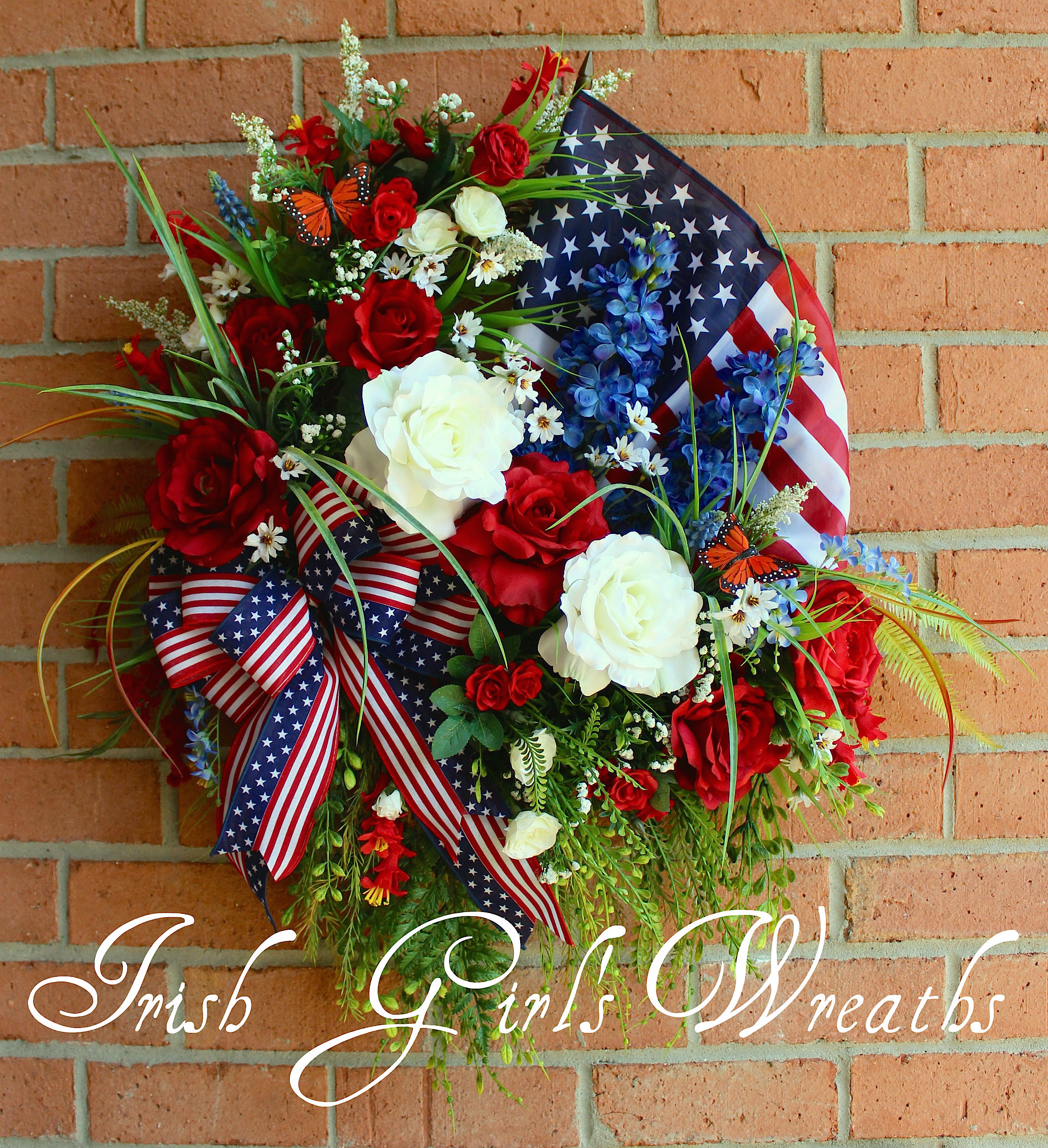 Patriotic Summer Rose Garden Wreath, Custom for Brittany
