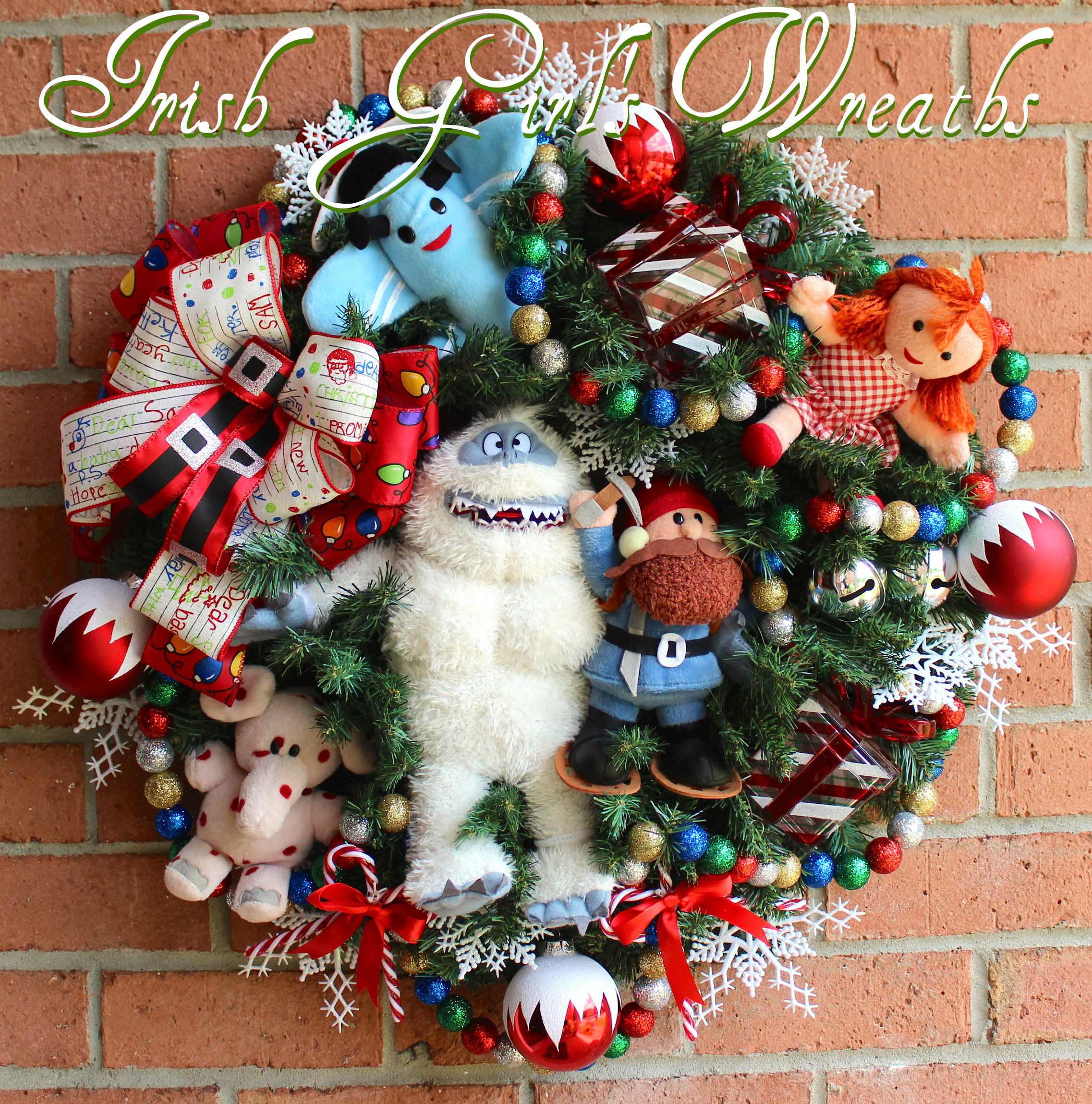 Rudolph Bumble SnowMonster Misfit Toys Wreath, Yukon Cornelius, spotted Elephant, Misfit Dolly, Misfit Airplane