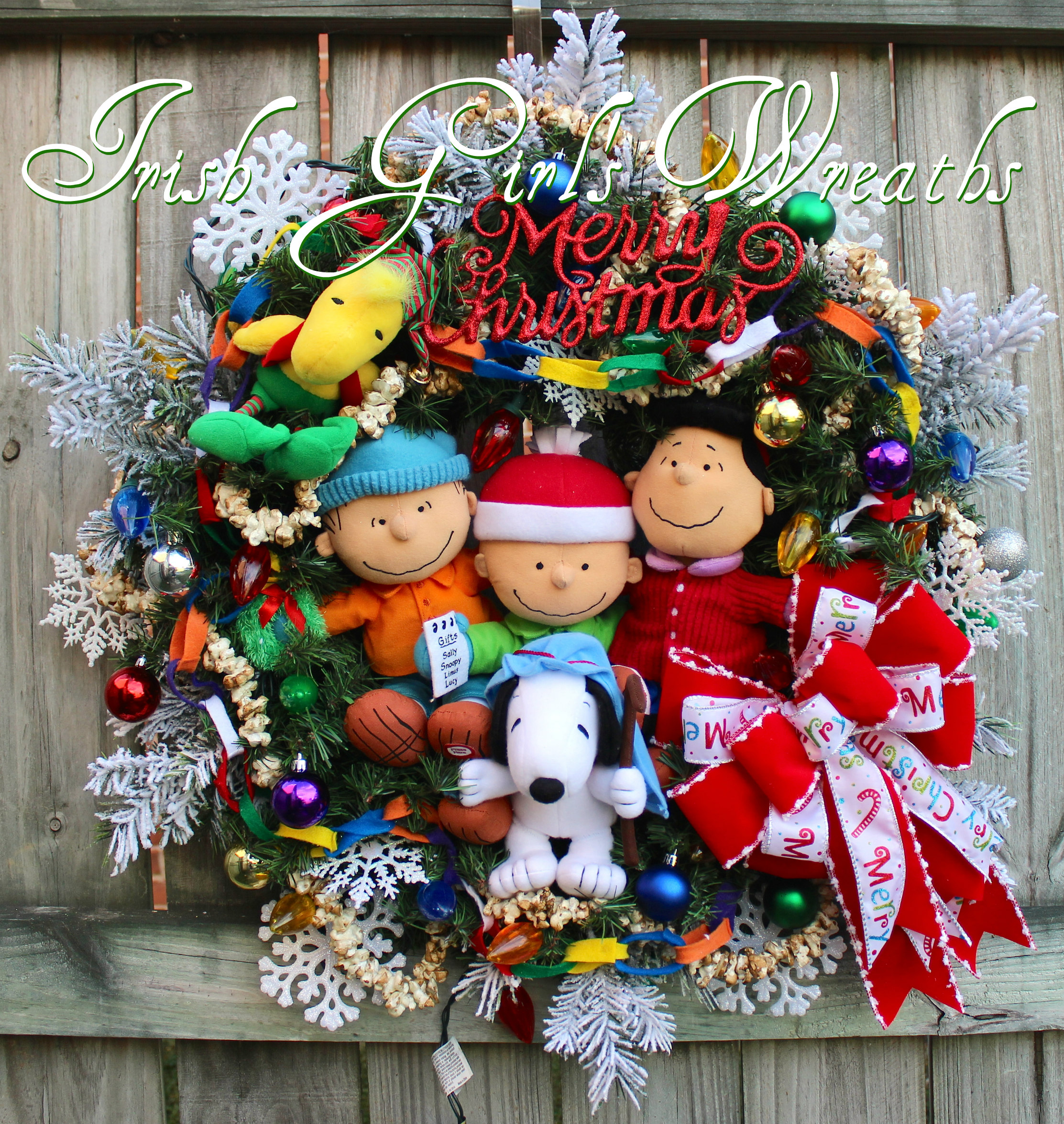 Deluxe Charlie Brown Peanuts Gang Merry Christmas Wreath – Will NOT be Duplicated- ONE and ONLY- PreLit, Lucy ,Snoopy, Linus, Woodstock