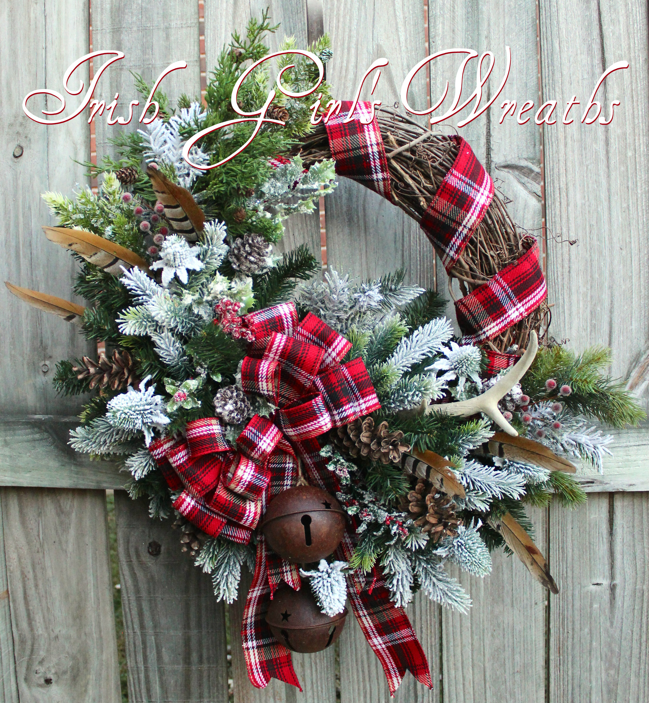 Celtic Christmas Scottish Highland Winter Wreath, tartan, antler, thistle, pheasant feather, Sleigh Bells