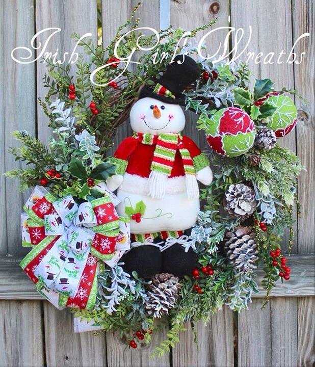 Cheerful Snowman Rustic Christmas Wreath, lime and red Christmas Wreath