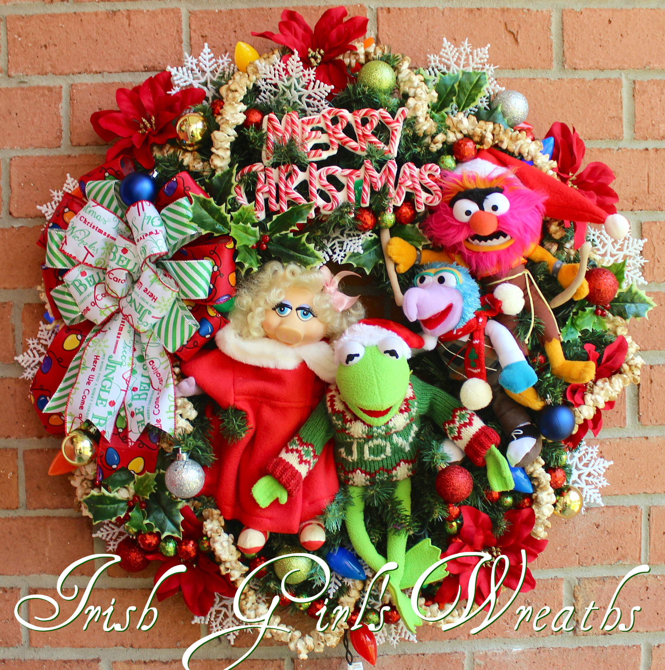 Muppets Merry Christmas Wreath starring Kermit, Miss Piggy, Gonzo and Animal, Custom for Cheri