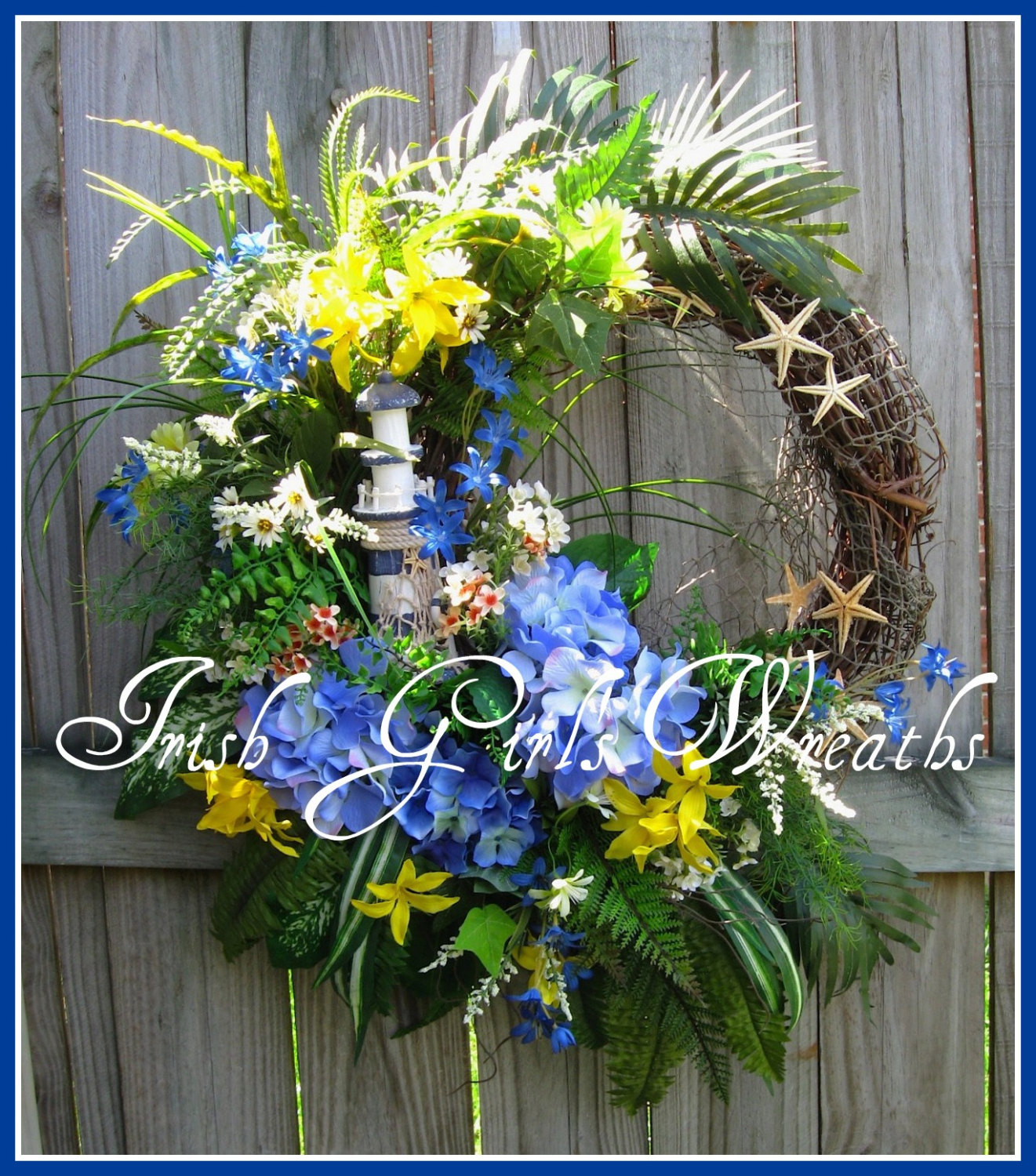 Tropical Lighthouse Blue and Yellow Summer Coastal Wreath