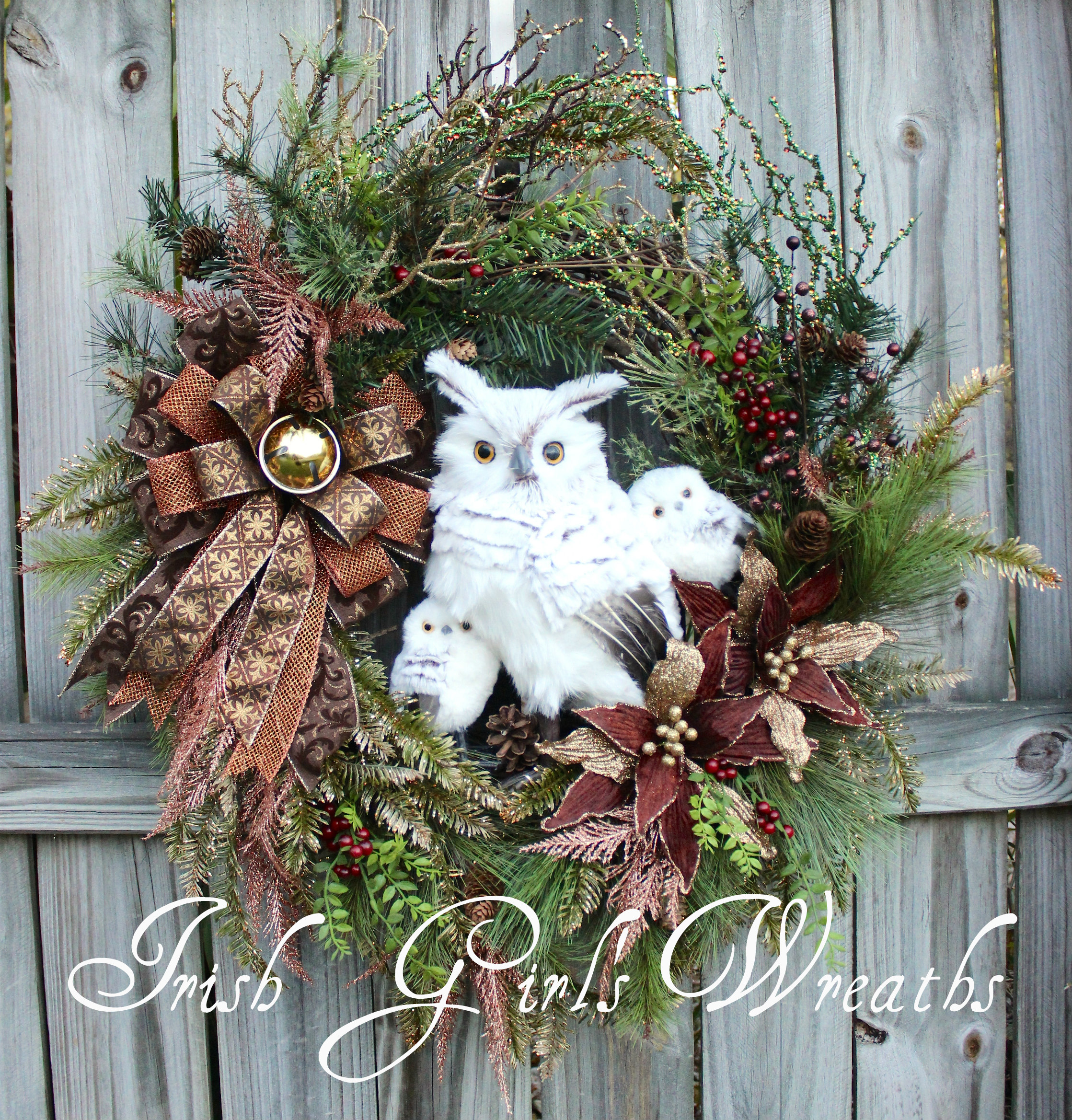 Rustic Woodland Copper and Gold Snowy Owl Family Christmas Wreath