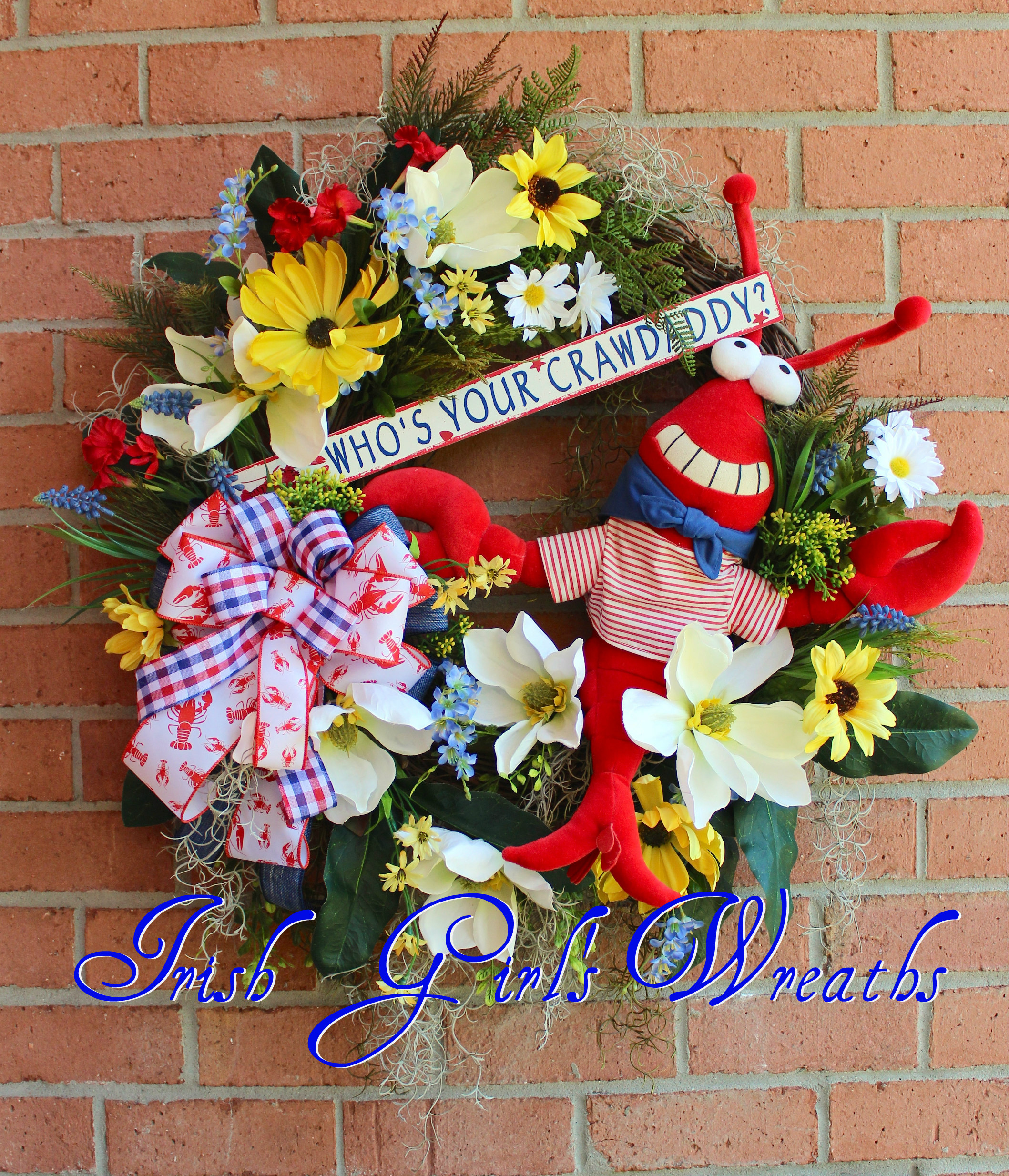 Who's Your Crawdaddy Wreath, Red White & Blue