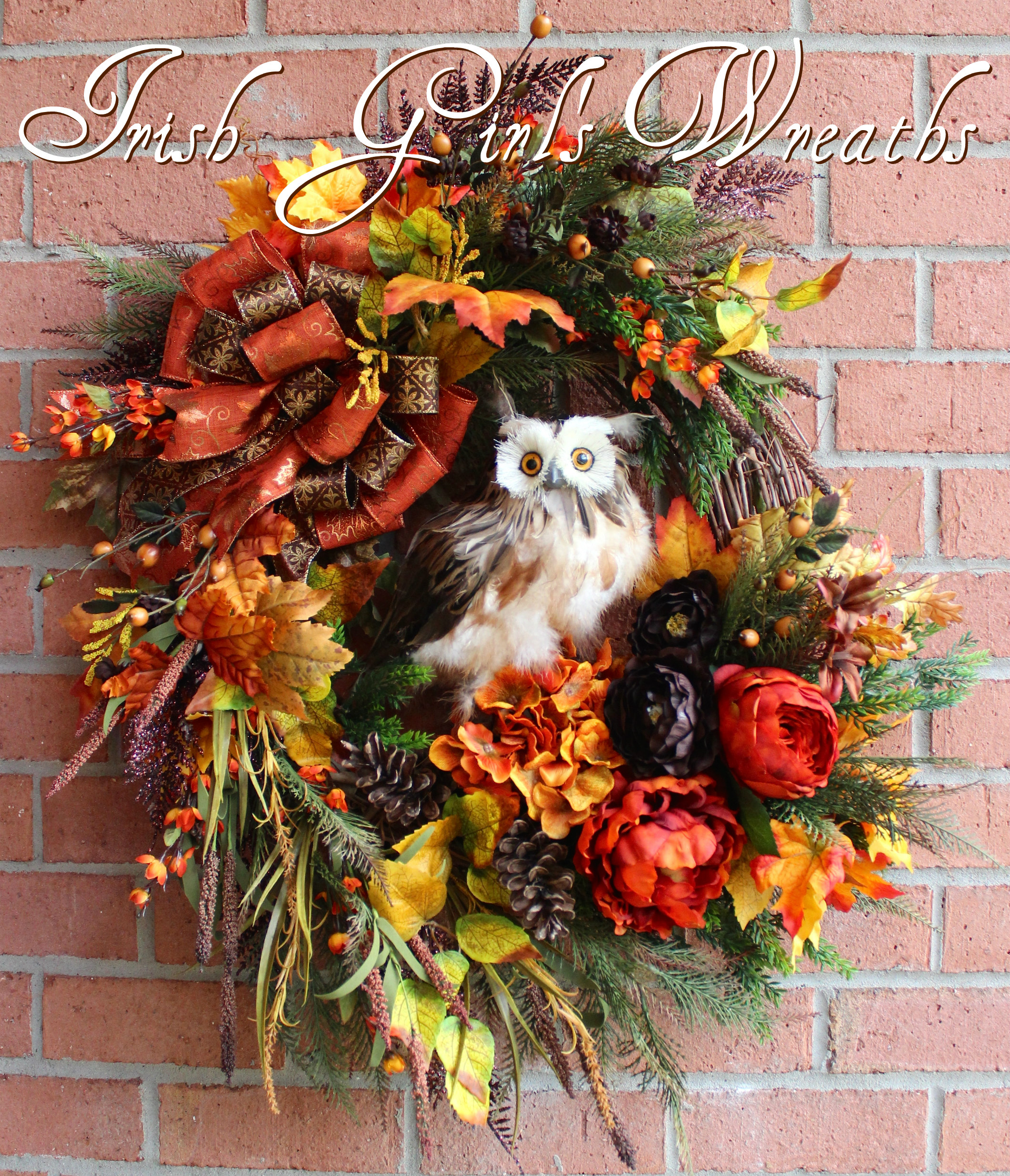Deluxe Fall Owl Wreath, Large Rustic Autumn Owl Wreath, Rust, Dark Brown