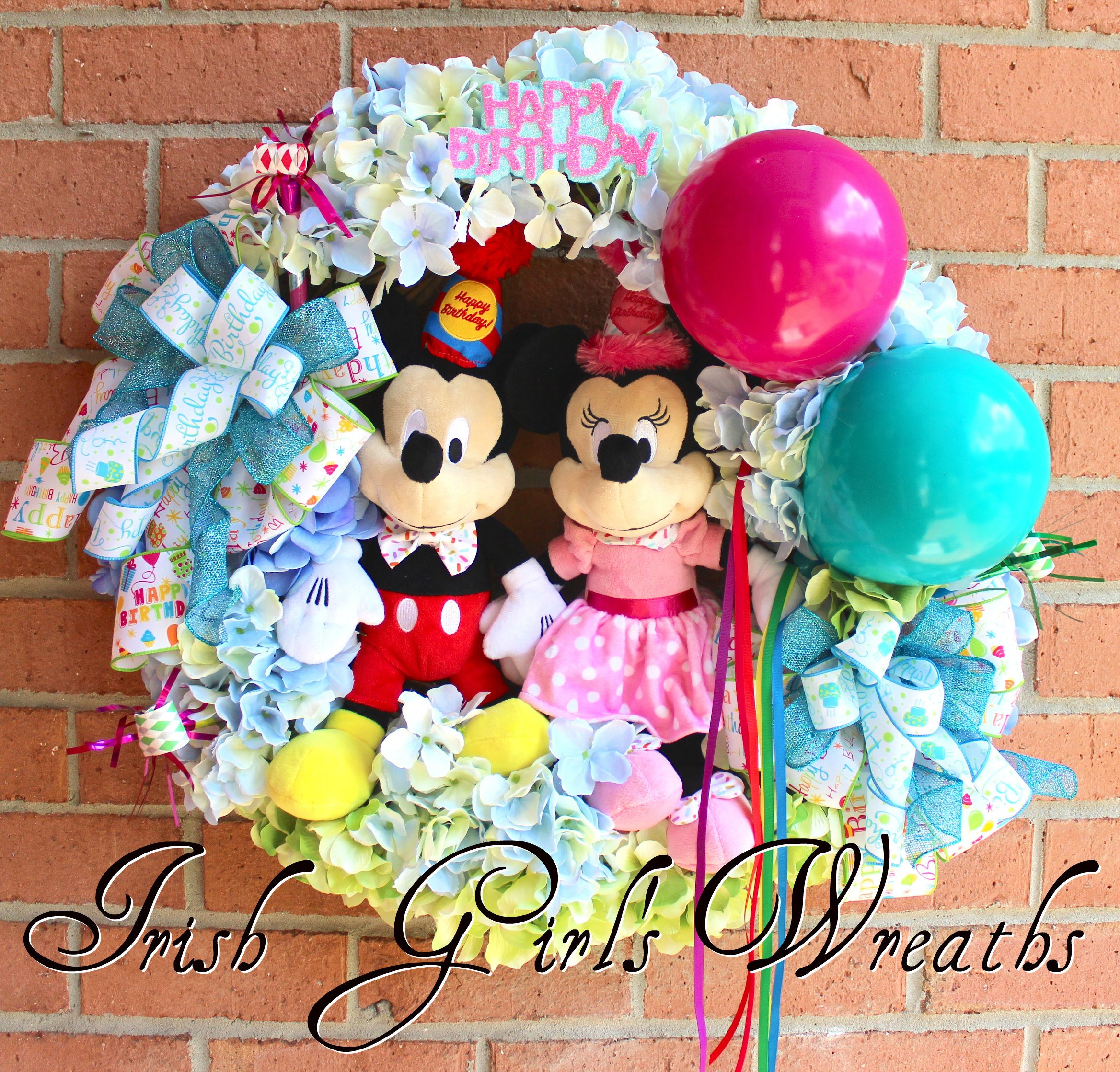 Mickey & Minnie Disney Birthday Wreath, Custom for Dolores