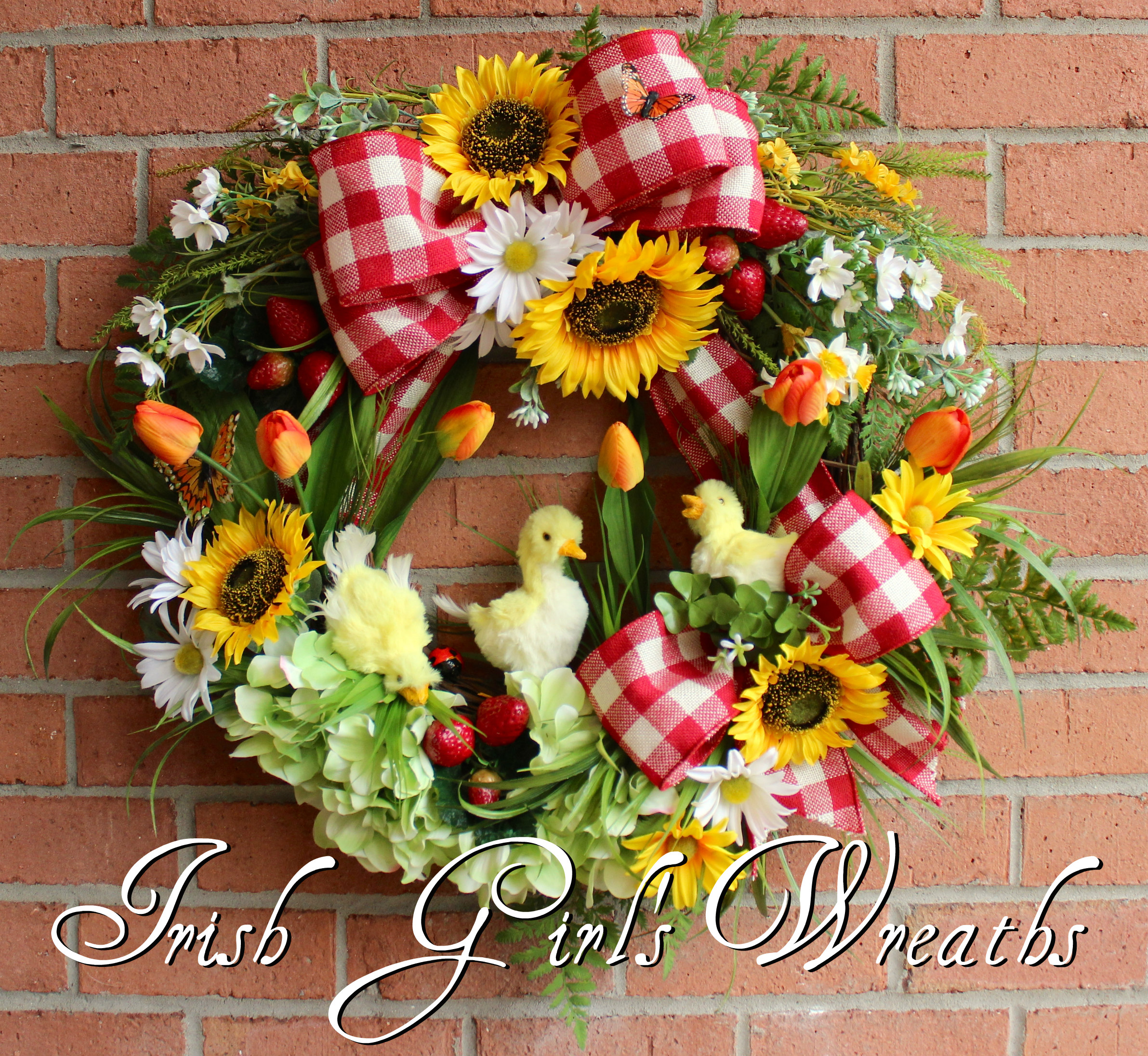 Ducklings on the Farm Spring Wreath, Country Sunflower, Strawberries, and Red Gingham Summer Wreath