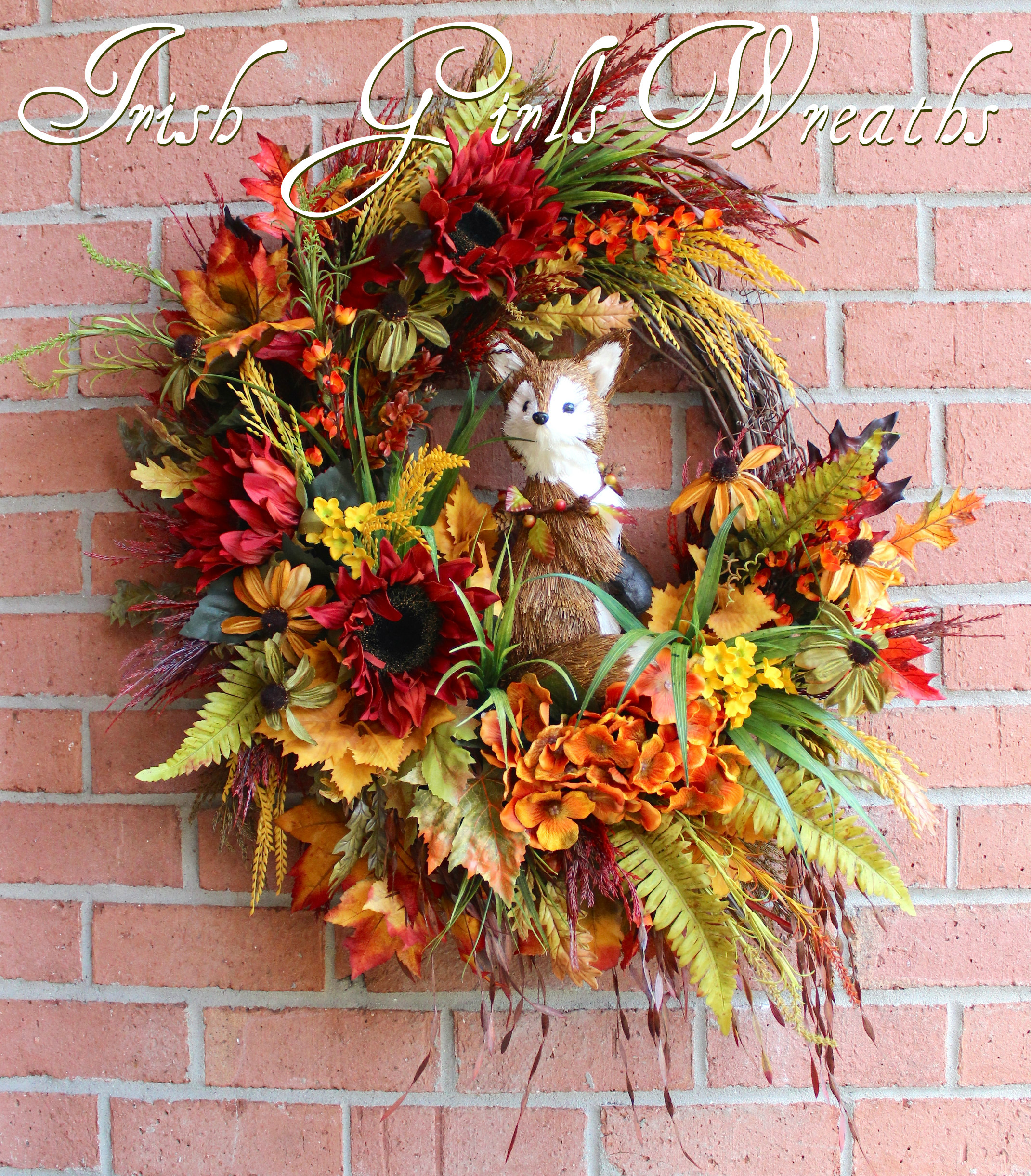 Fall Fox Wreath, Large Rustic Autumn Woodland Fox Wreath