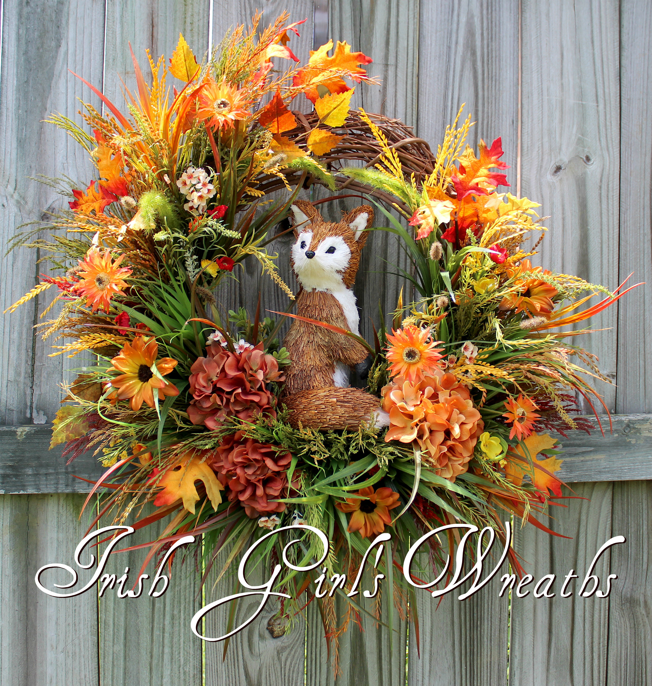 Fox in Fall Meadow Wreath, Rustic Fall Floral