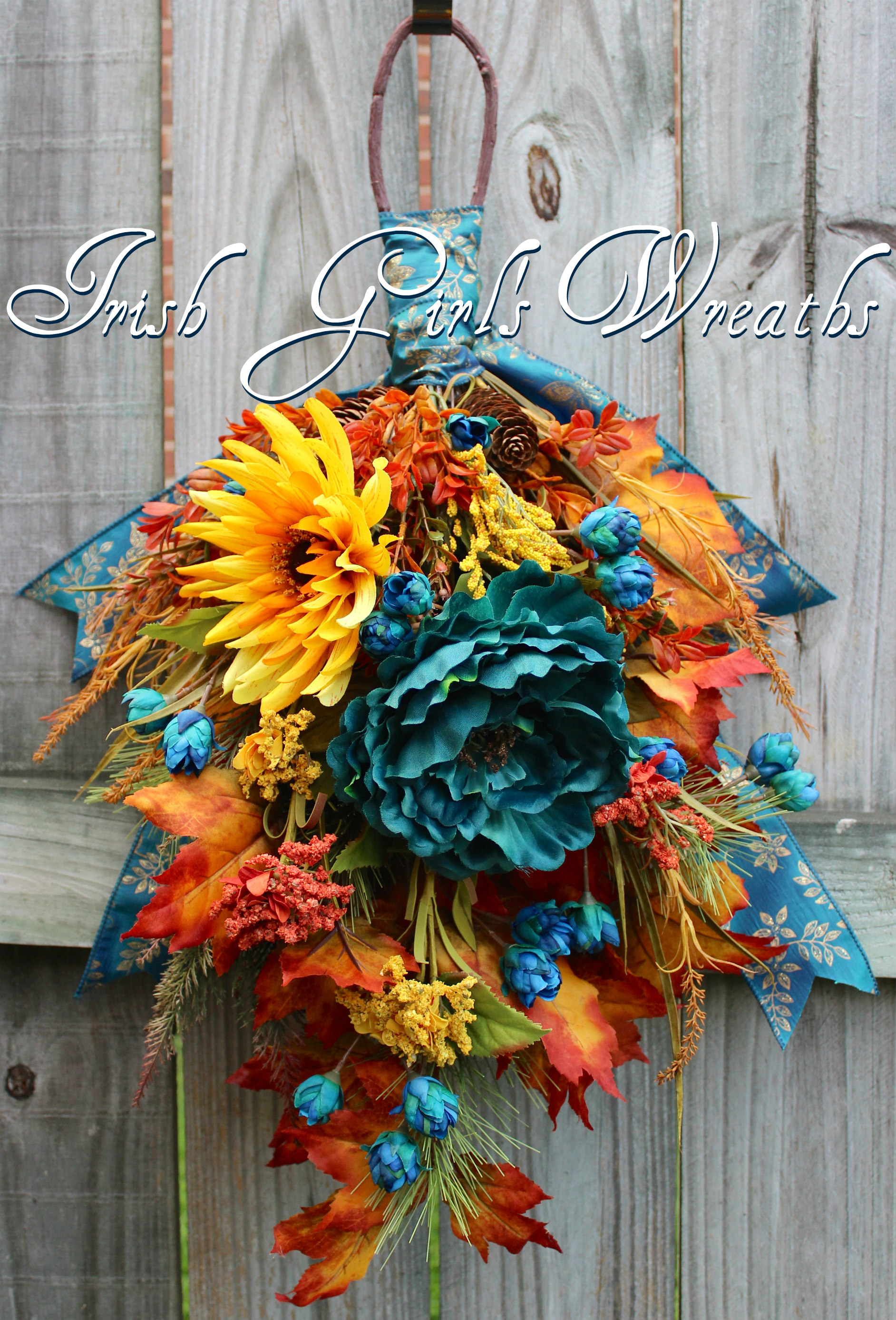 Fall Teal Floral Swag, Teal Gold Rust Autumn Wreath