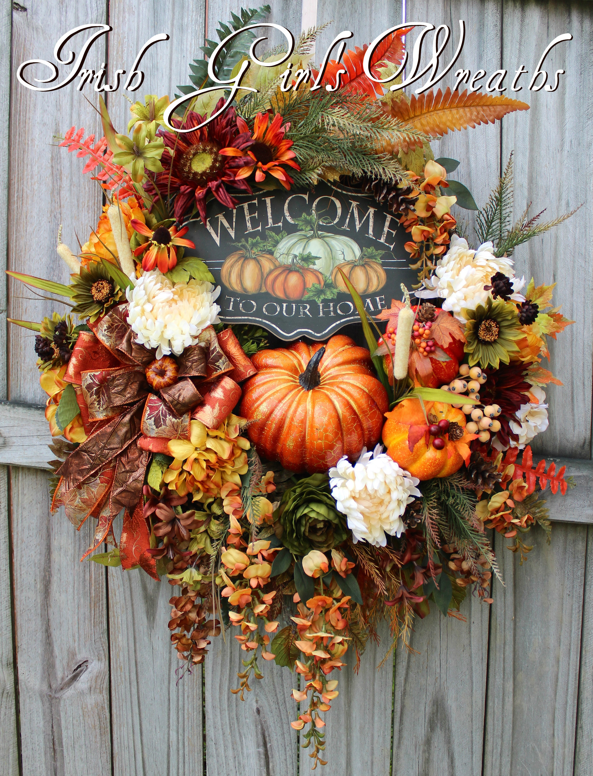 Welcome To Our Home Deluxe Fall Sunflower Wreath, XL Autumn Pumpkin Wreath