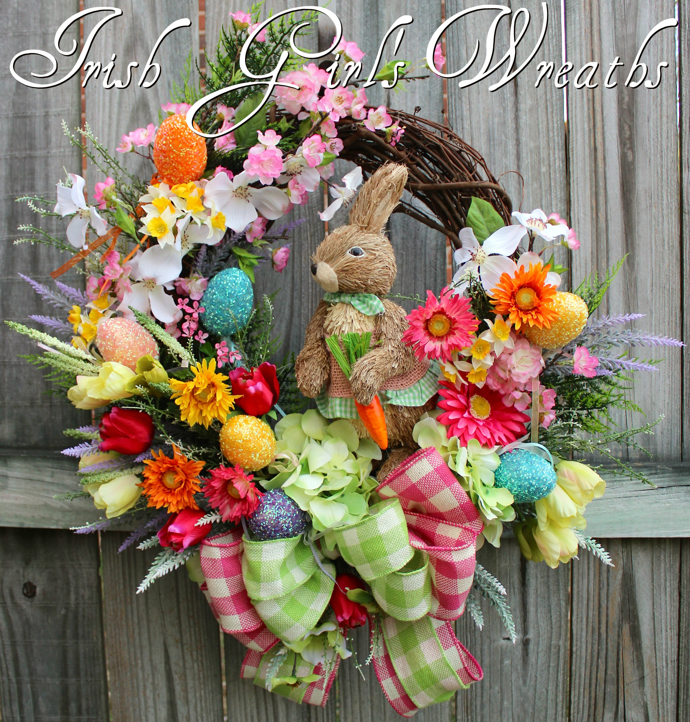 Sisal Bunny Easter Garden Wreath, Custom for Flor