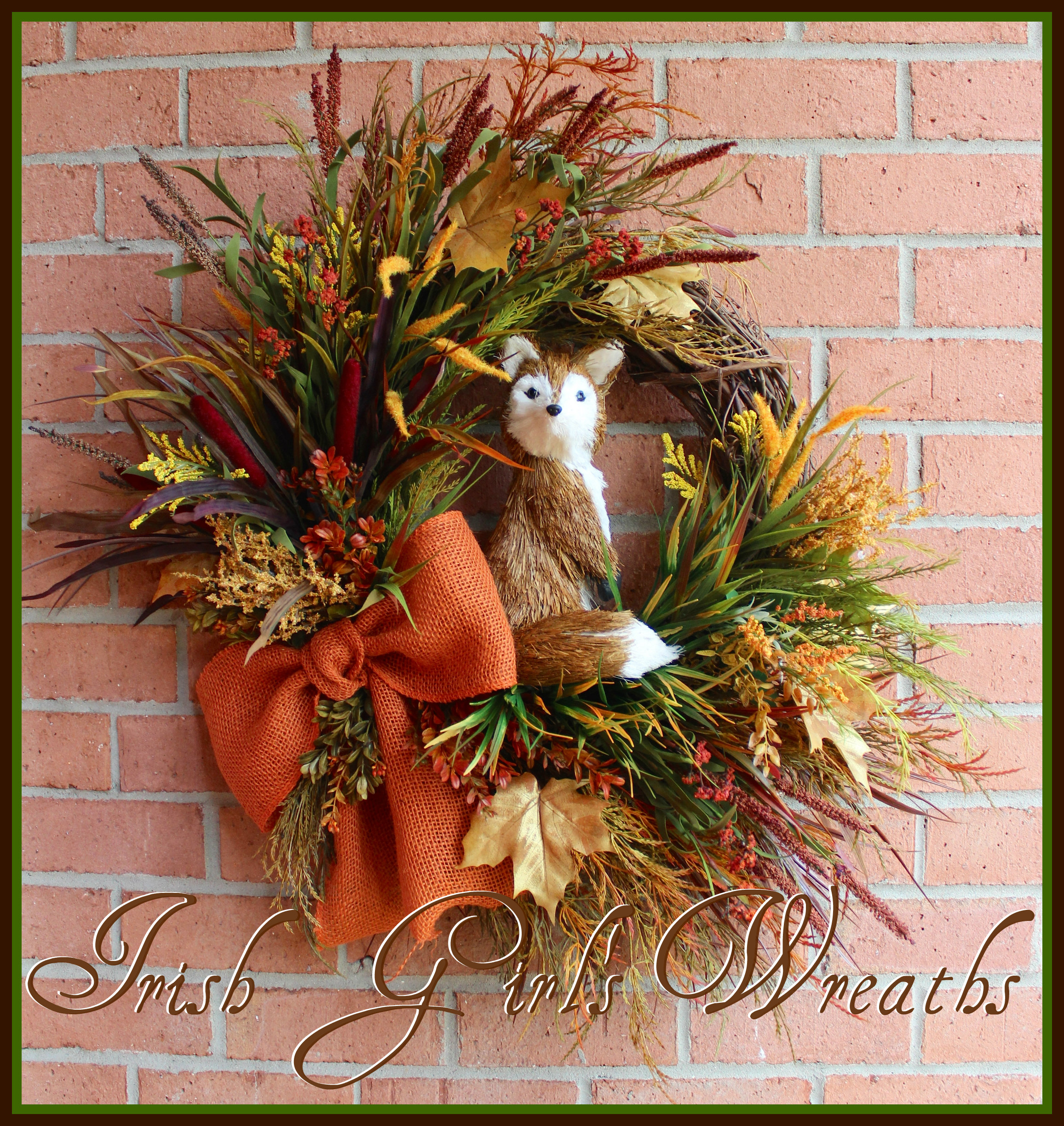 MADE to ORDER Rustic Fox in the Autumn Field XL Fall Wreath