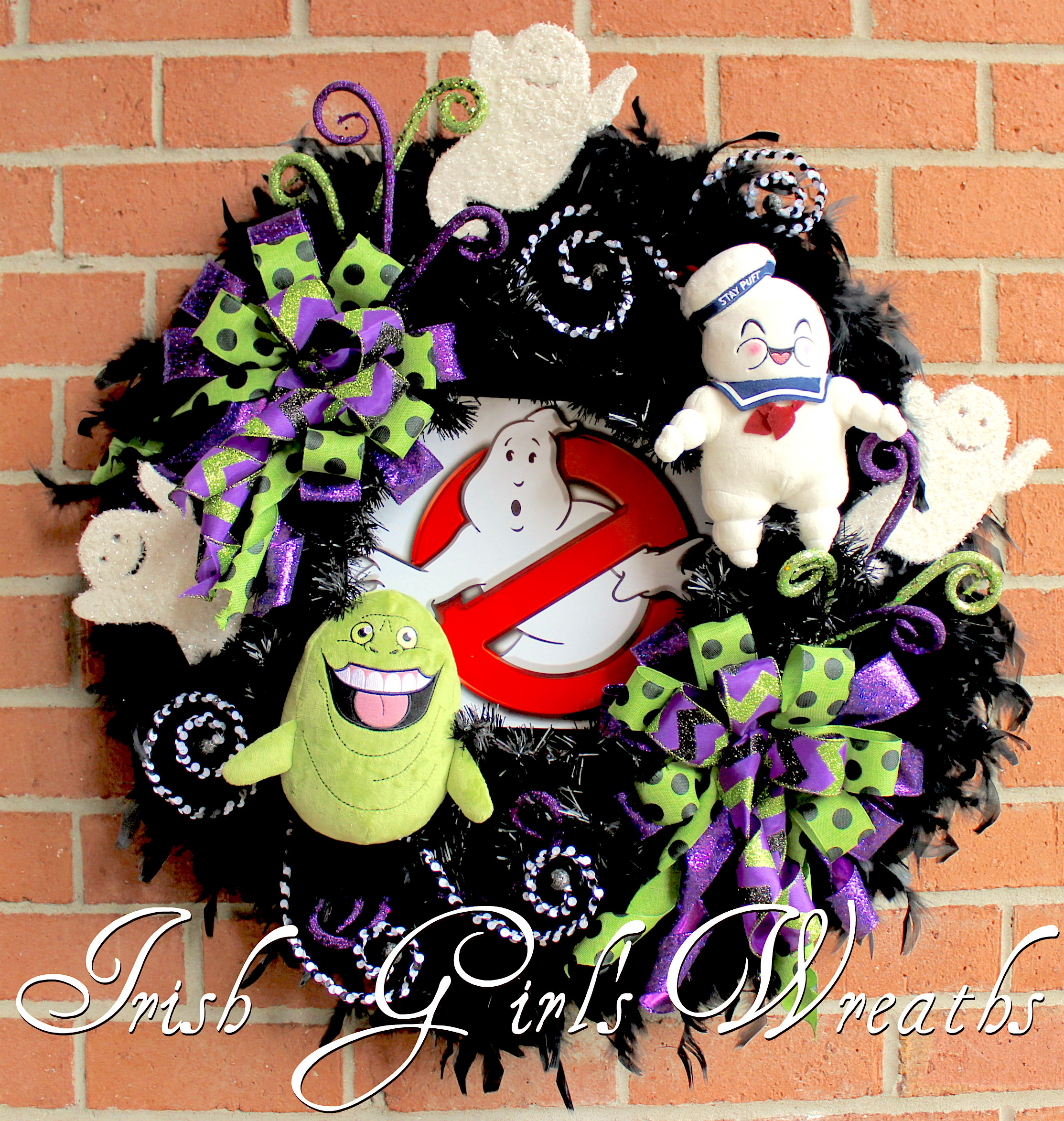 GhostBusters Halloween Wreath, Slimer Ghost, StayPuft Marshmallow Man, Who You Gonna Call